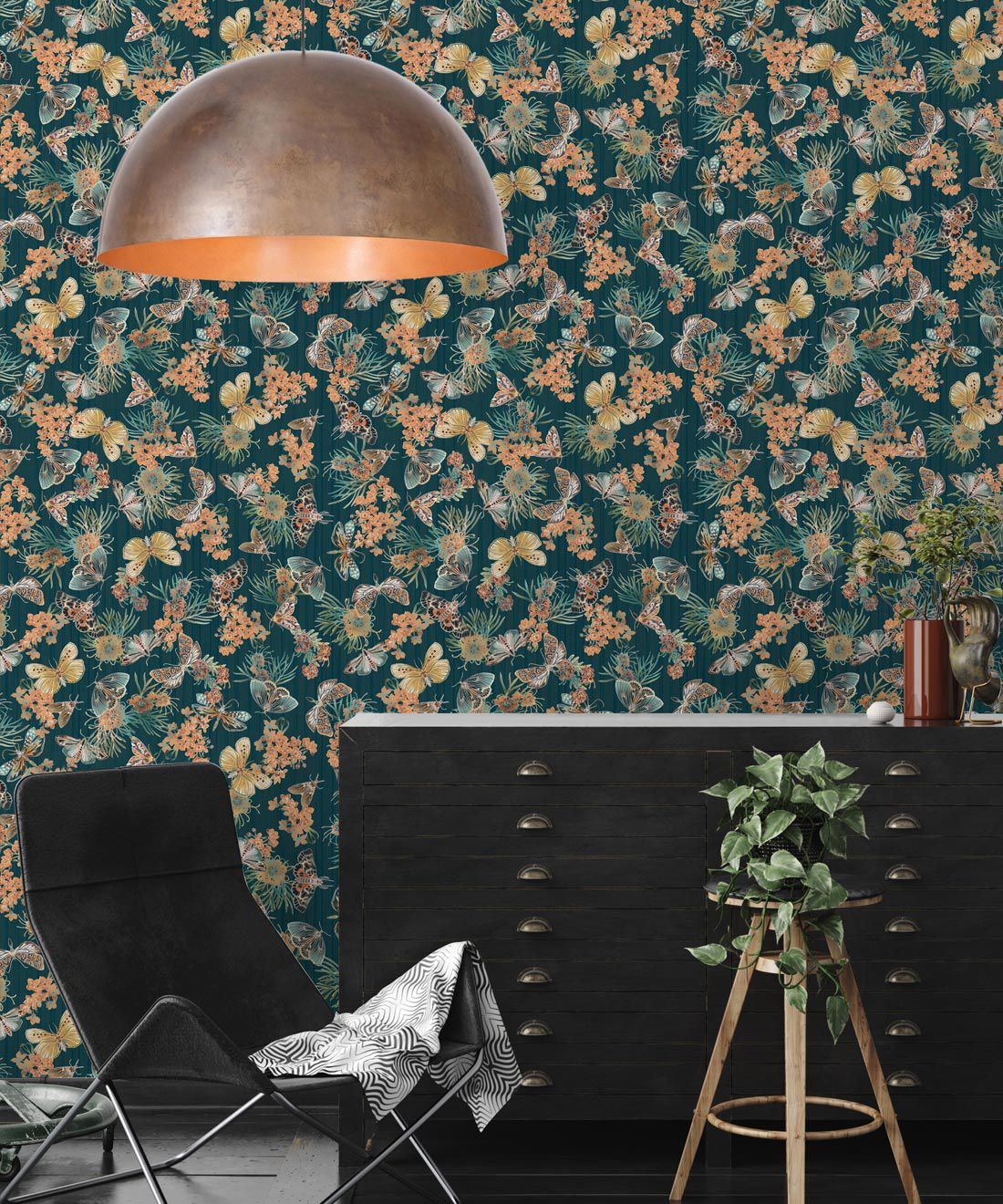 Moth Wallpaper • Eloise Short • Vintage Floral Wallpaper •Granny Chic Wallpaper • Grandmillennial Style Wallpaper •Deep Ocean •Insitu