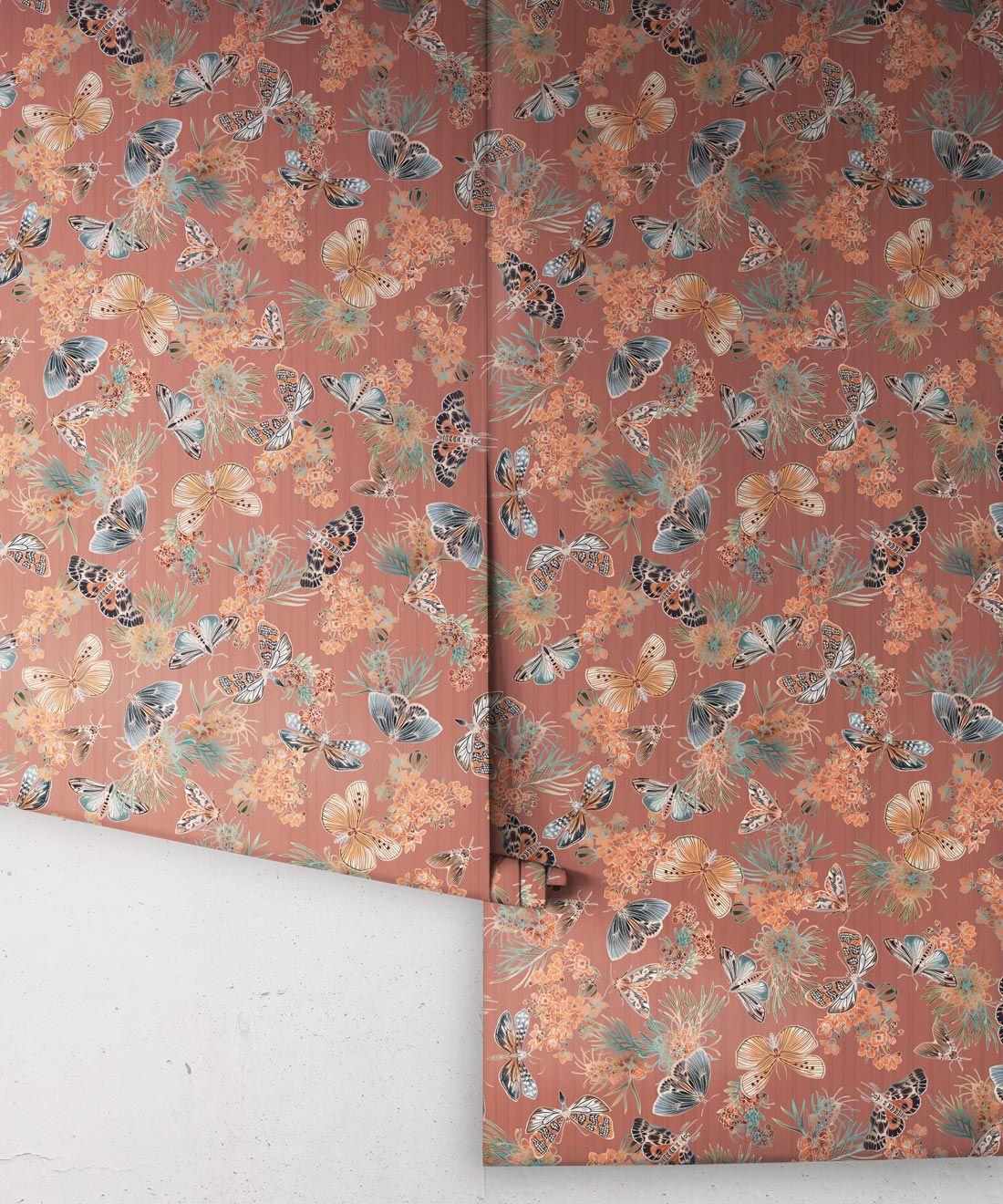 Moth Wallpaper • Eloise Short • Vintage Floral Wallpaper •Granny Chic Wallpaper • Grandmillennial Style Wallpaper •Rosewood •Rolls