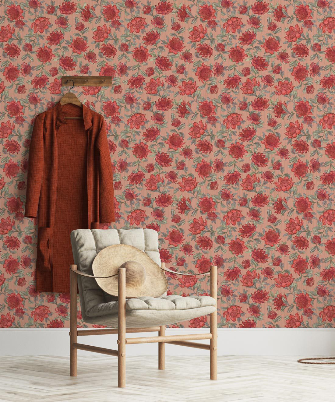 Waratah Wallpaper • Eloise Short • Vintage Floral Wallpaper •Granny Chic Wallpaper • Grandmillennial Style Wallpaper •Blush •Insitu