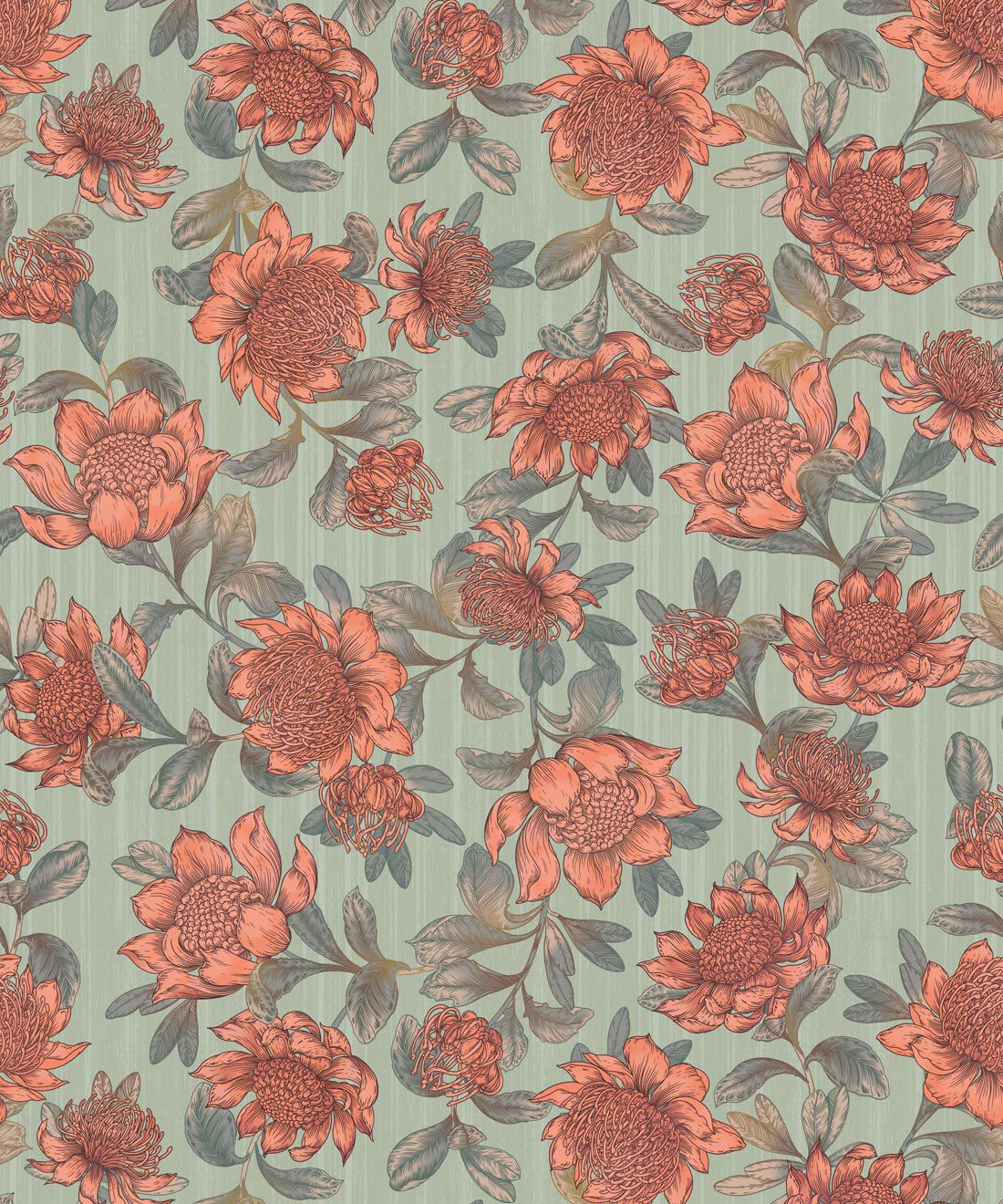 Waratah Wallpaper • Eloise Short • Vintage Floral Wallpaper •Granny Chic Wallpaper • Grandmillennial Style Wallpaper •Green •Swatch