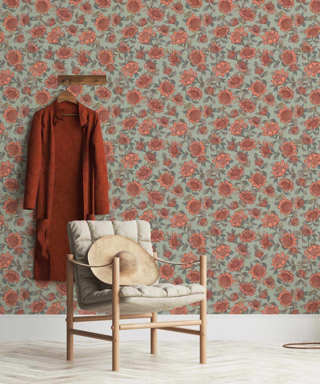 Waratah Wallpaper • Eloise Short • Vintage Floral Wallpaper •Granny Chic Wallpaper • Grandmillennial Style Wallpaper •Green •Insitu