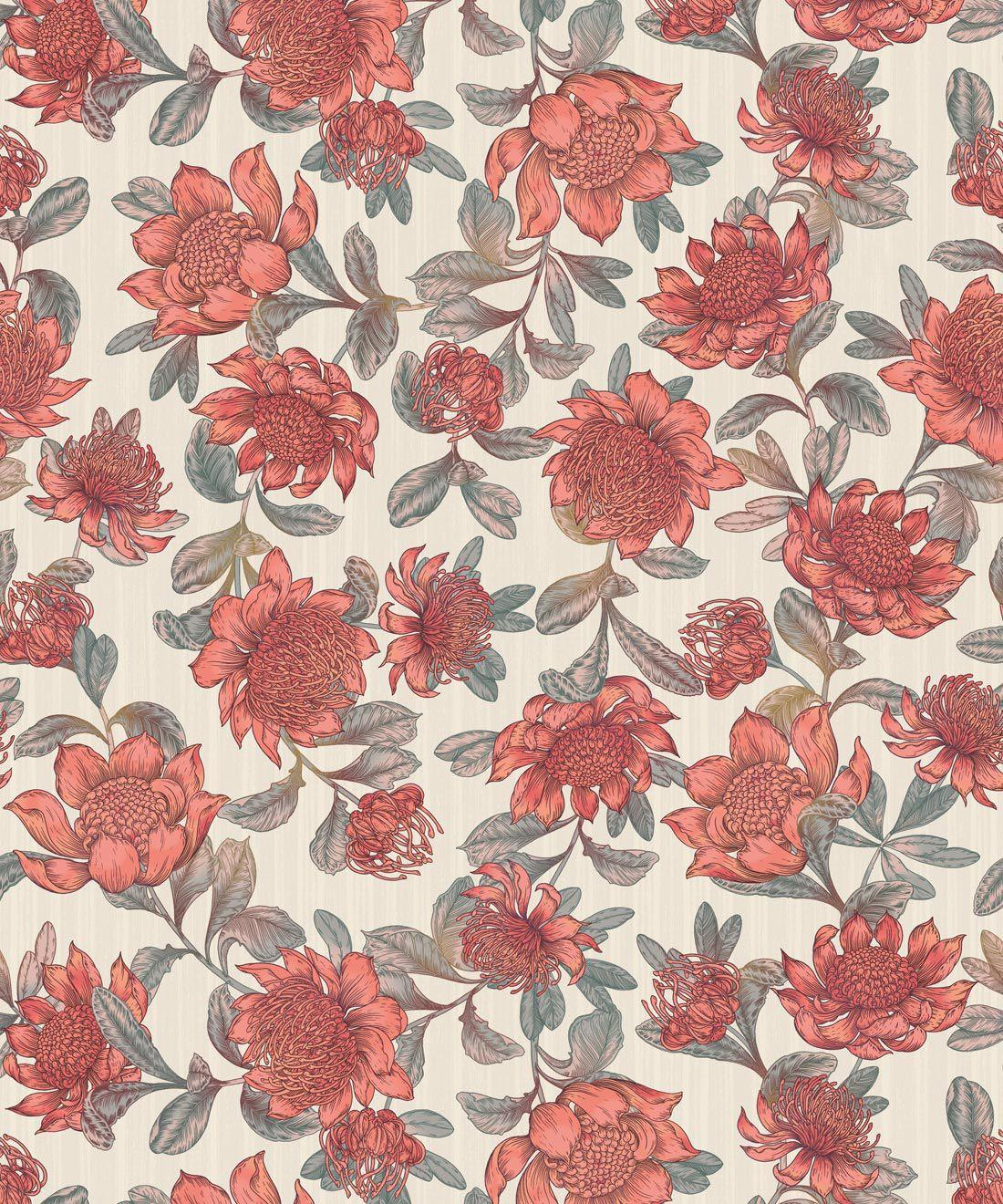 Waratah Wallpaper • Eloise Short • Vintage Floral Wallpaper •Granny Chic Wallpaper • Grandmillennial Style Wallpaper •Parchment •Swatch