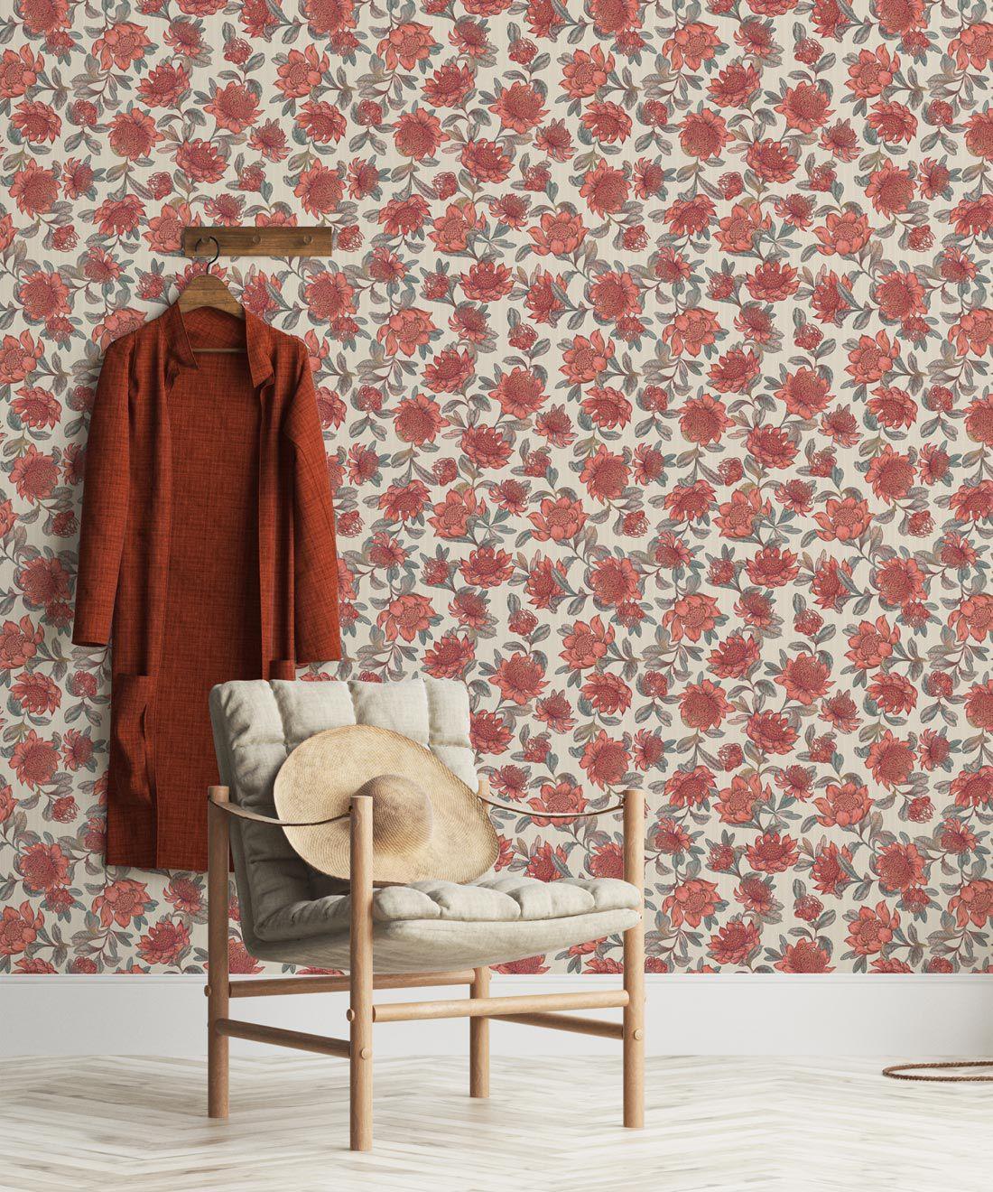 Waratah Wallpaper • Eloise Short • Vintage Floral Wallpaper •Granny Chic Wallpaper • Grandmillennial Style Wallpaper •Parchment •Insitu