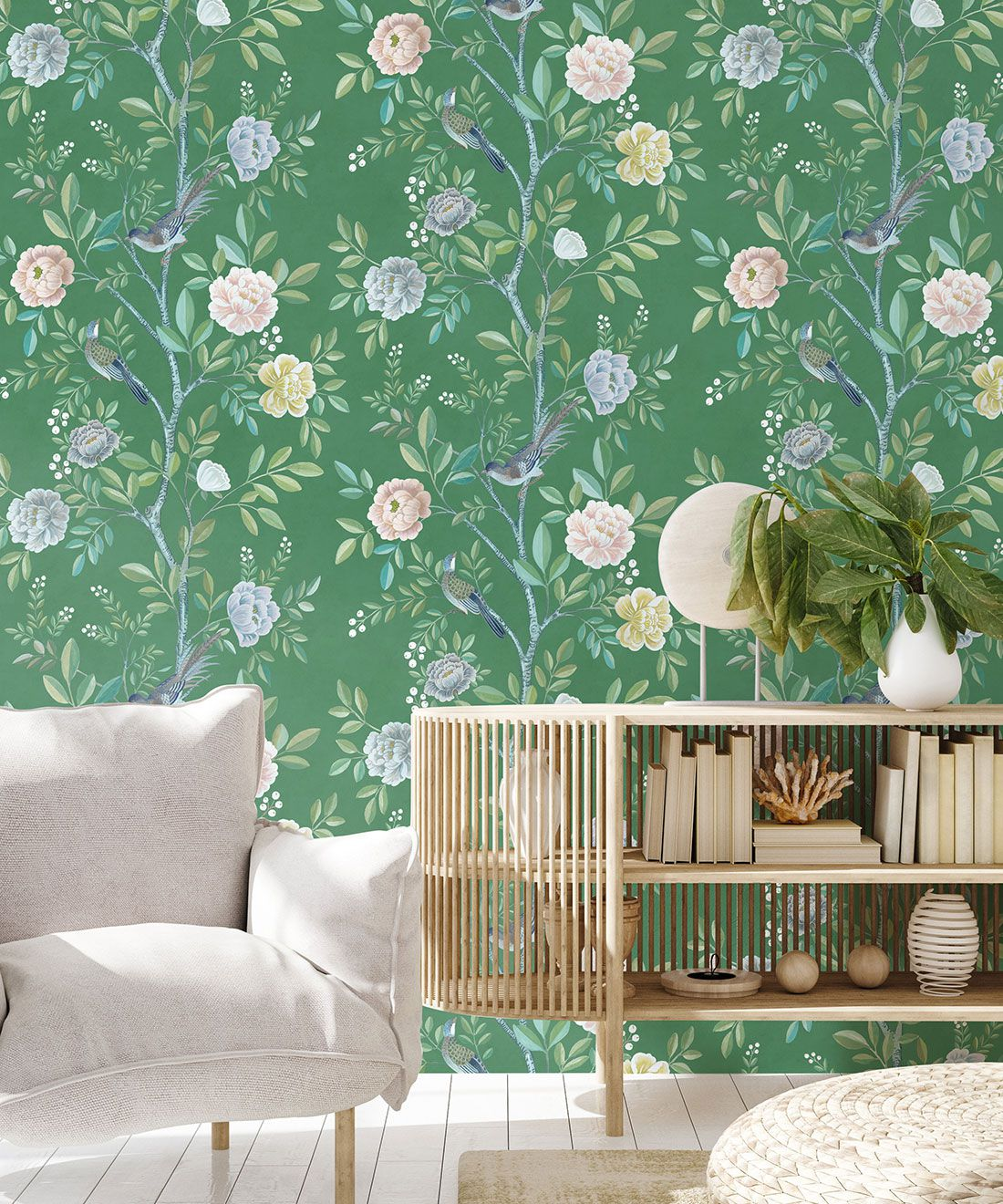 Chinoiserie Wallpaper •Floral Wallpaper •Bird Wallpaper • Magnolia • Forest Green • Insitu