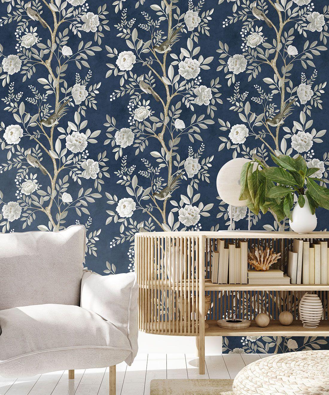 Chinoiserie Wallpaper •Floral Wallpaper •Bird Wallpaper • Magnolia • Royal Blue • Insitu