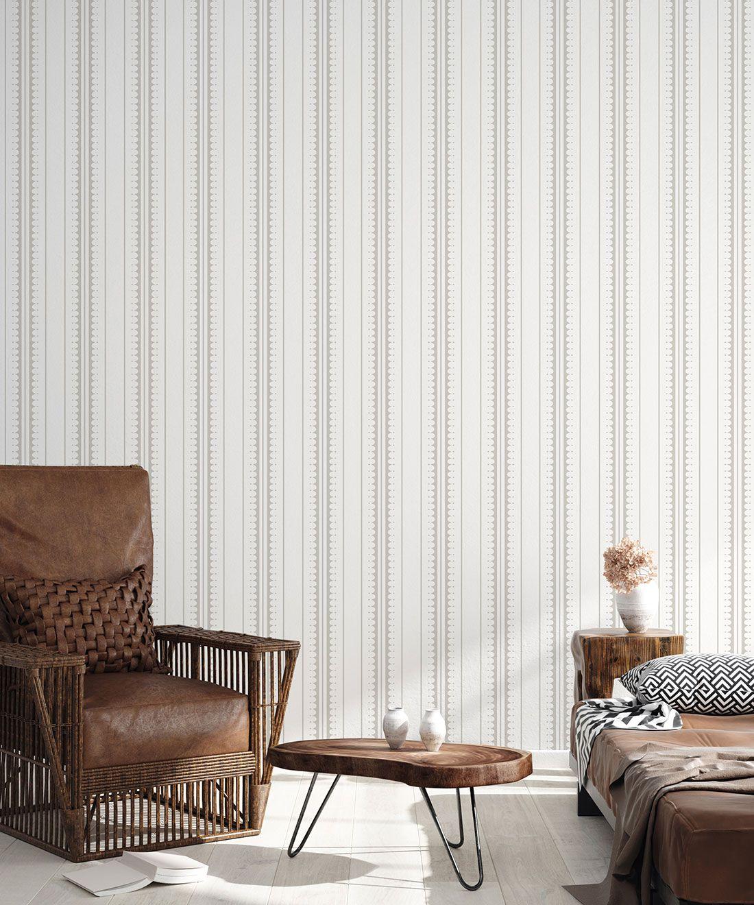 Coquille Wallpaper • Stripe and Scallop Wallpaper • Beige • Insitu
