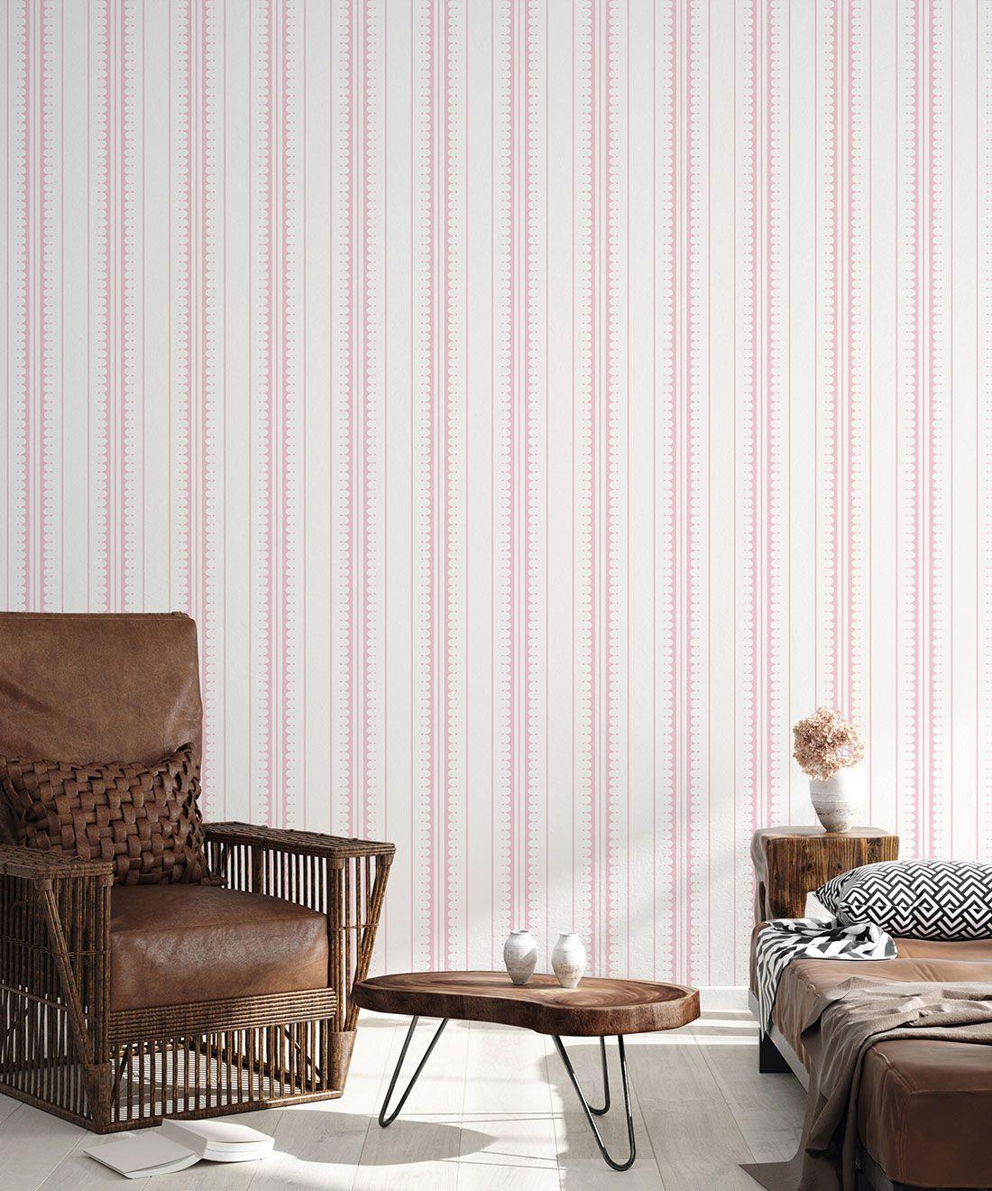 Coquille Wallpaper • Stripe and Scallop Wallpaper • Blush • Insitu