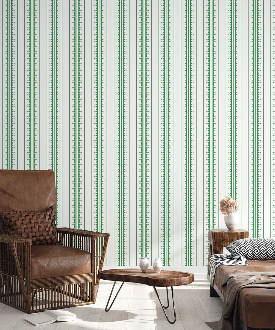 Coquille Wallpaper • Stripe and Scallop Wallpaper • Forest Green • Insitu