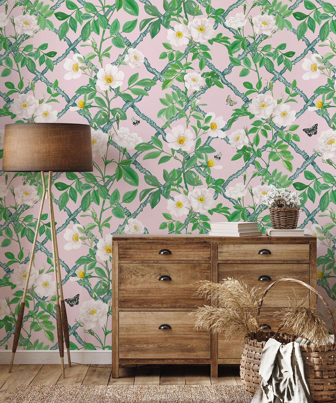Treilage Wallpaper • Floral Wallpaper • Blush • Insitu