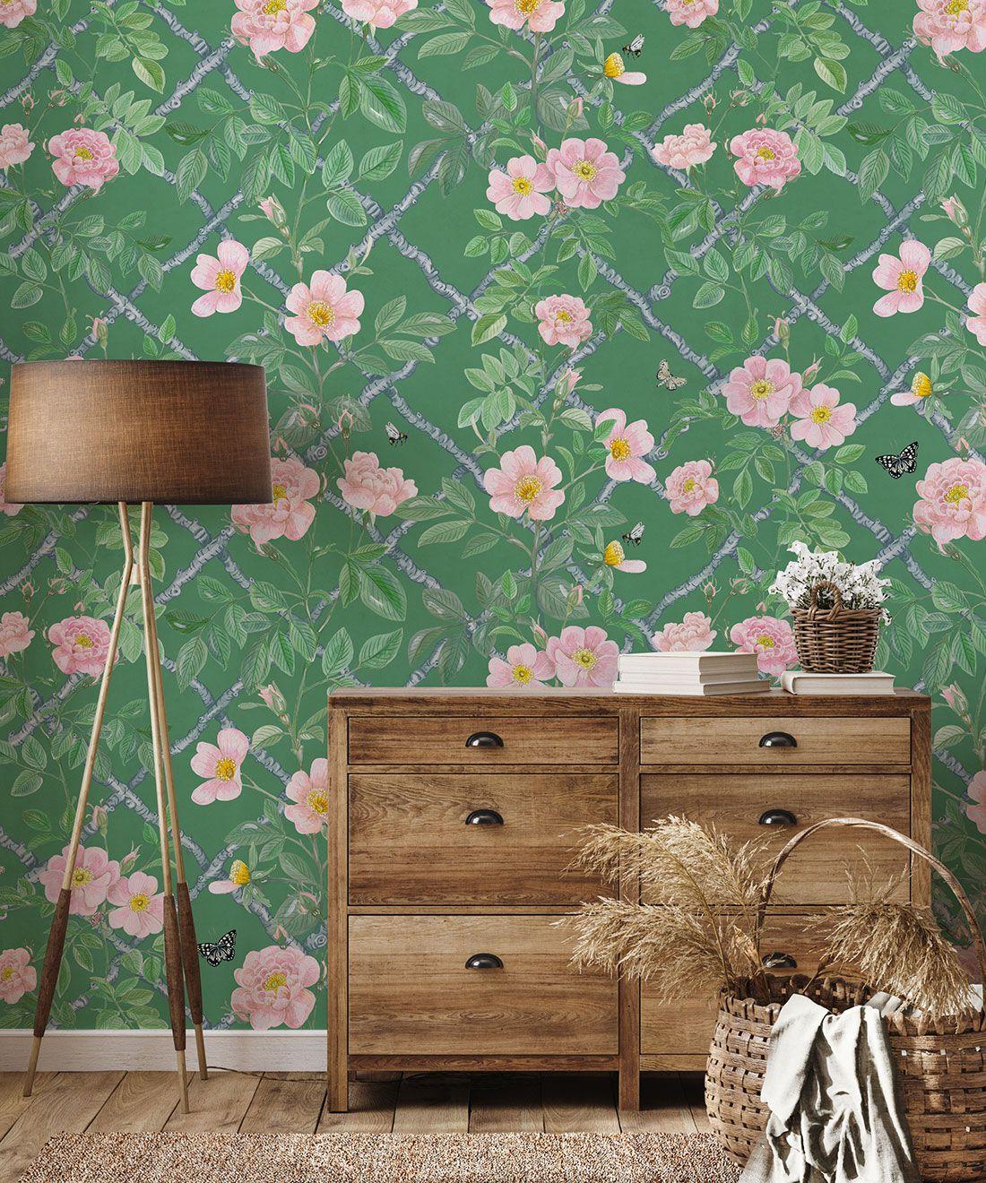 Treilage Wallpaper • Floral Wallpaper • Forest Green • Insitu