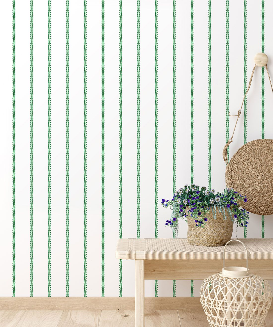 Chemin Wallpaper • Striped Wallpaper • Forest Green • Insitu