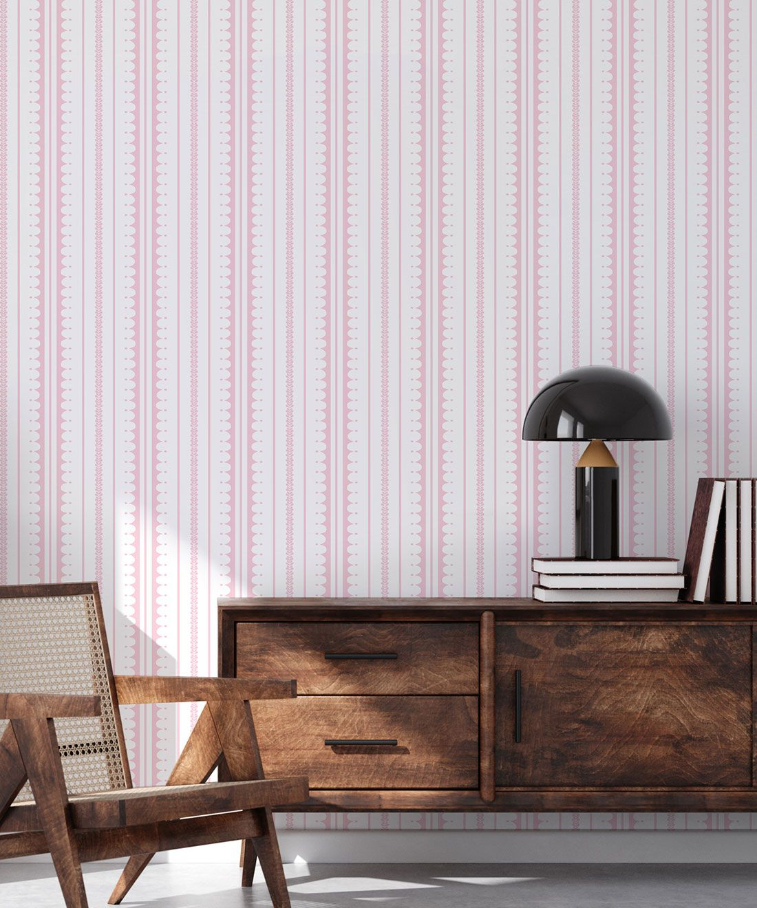 La Grand Coquille • Stripe and Scallop Wallpaper • Blush • Insitu