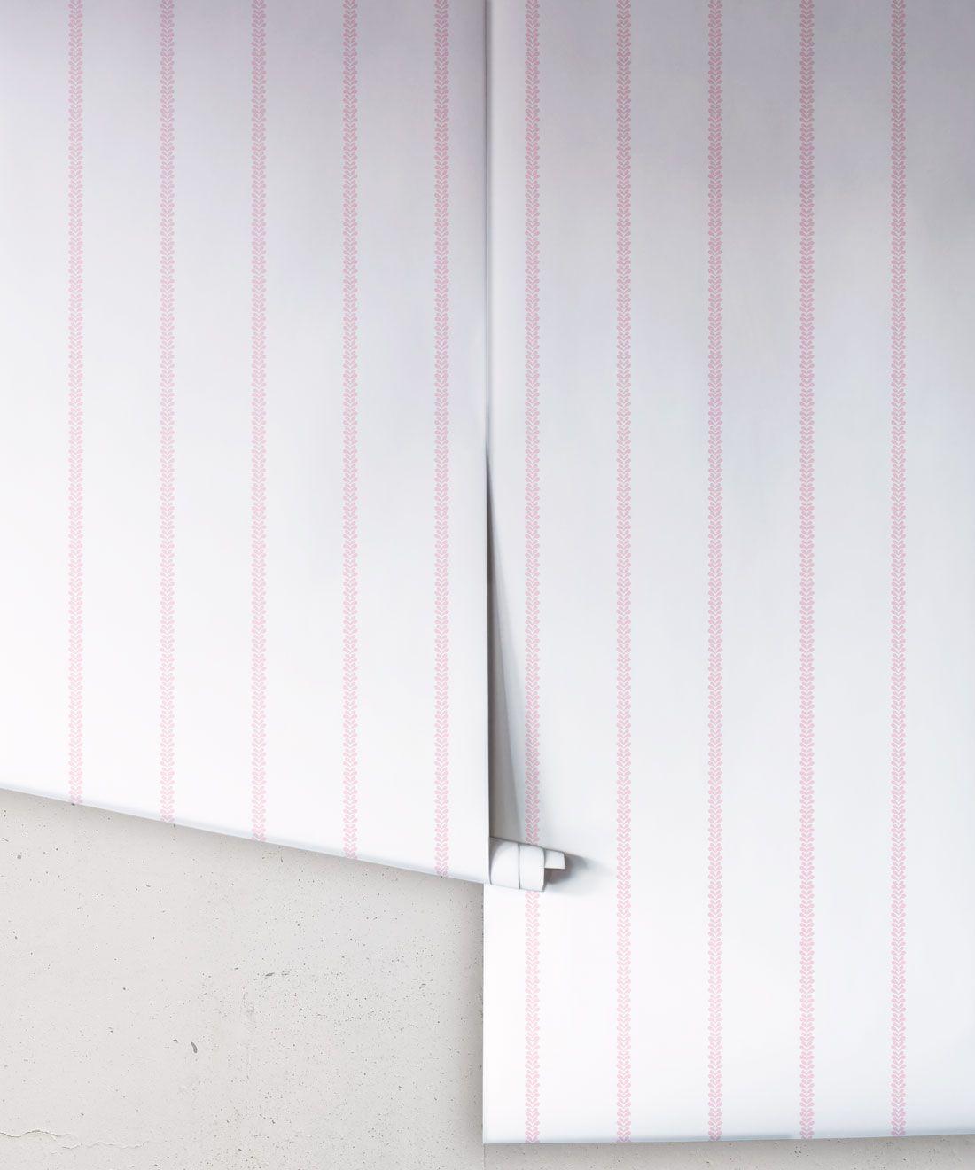 Chemin Wallpaper • Striped Wallpaper • Blush • Rolls