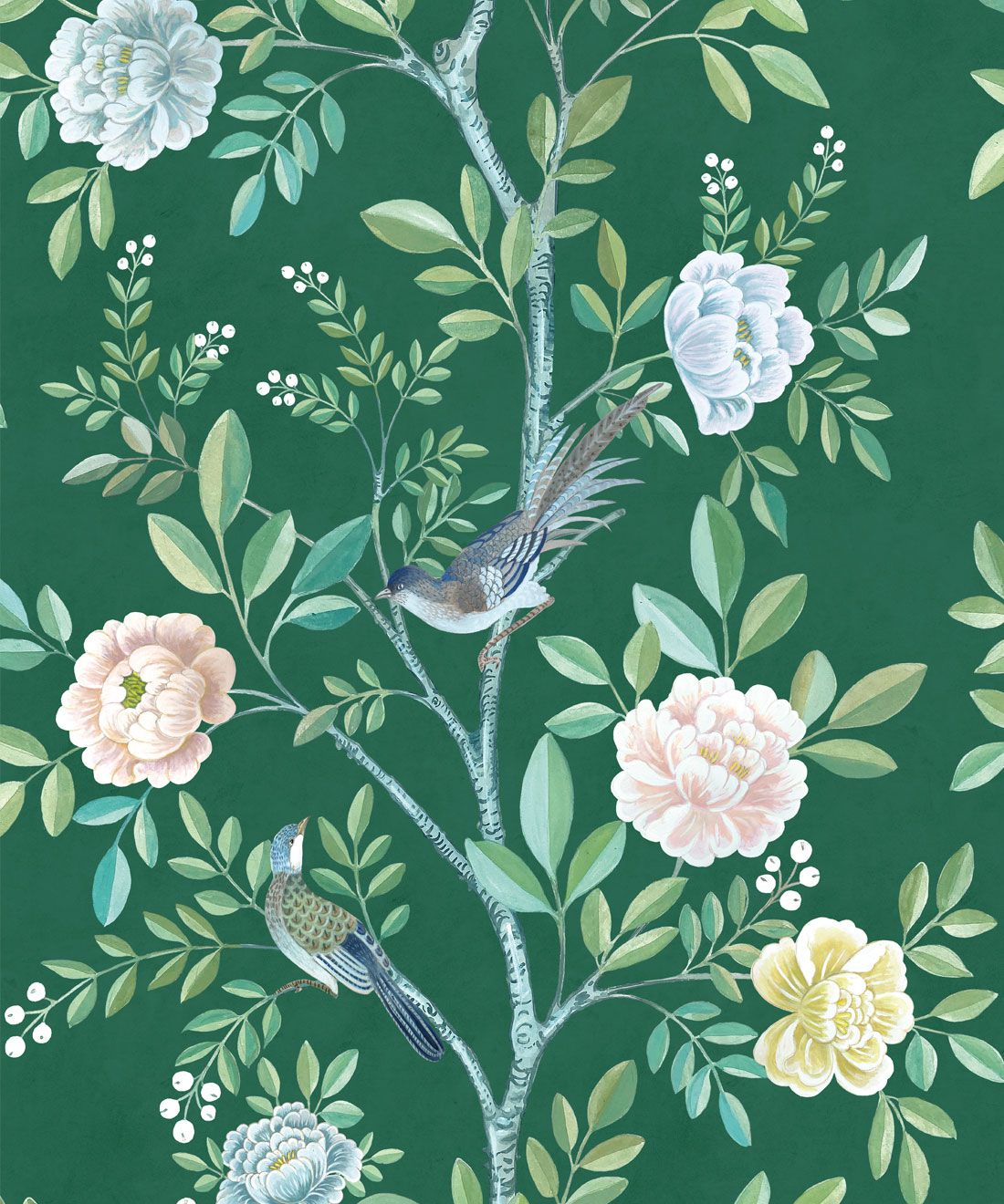 Chinoiserie Wallpaper •Floral Wallpaper •Bird Wallpaper • Magnolia • Emerald Green • Swatch