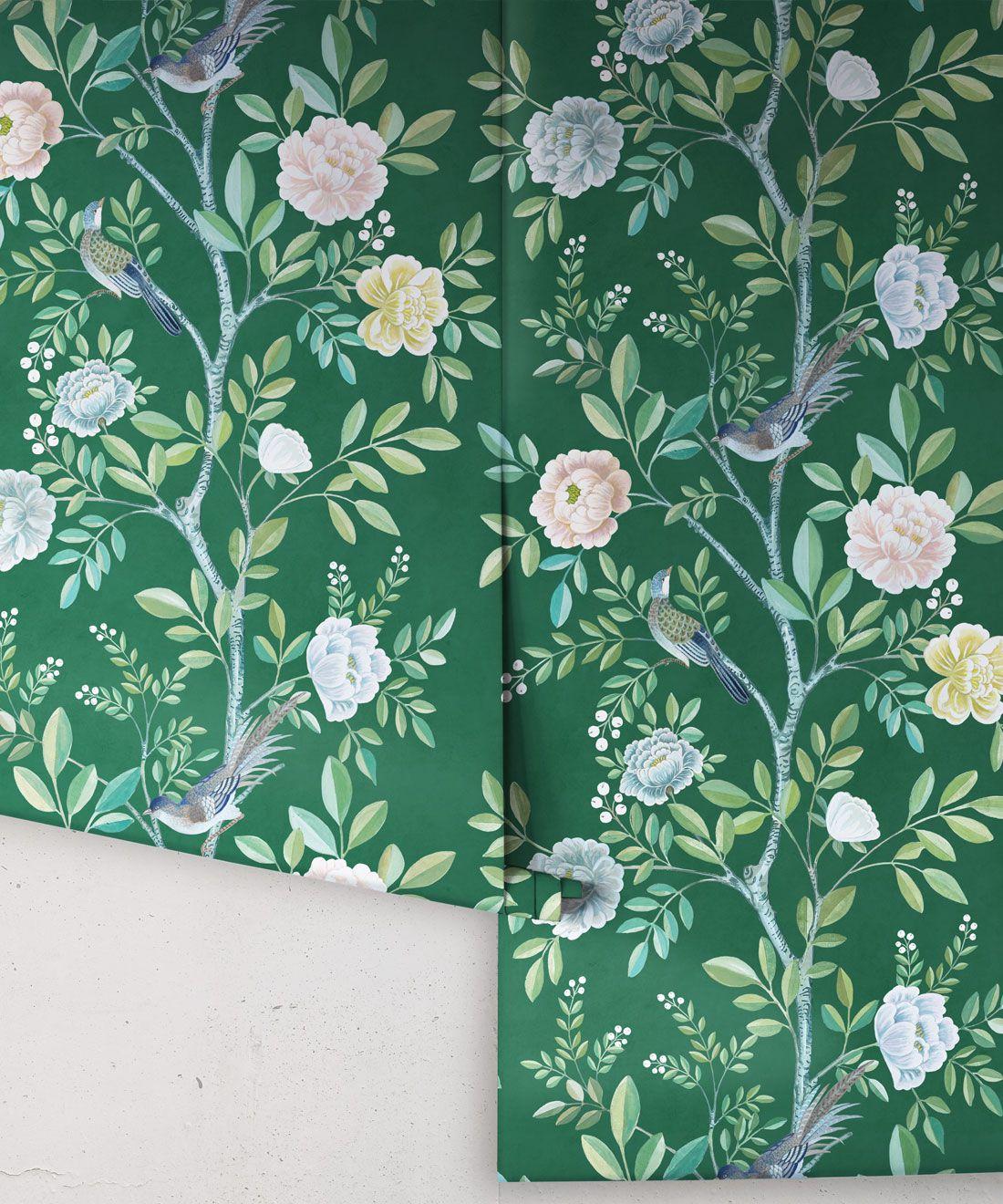 Chinoiserie Wallpaper •Floral Wallpaper •Bird Wallpaper • Magnolia • Emerald Green • Rolls