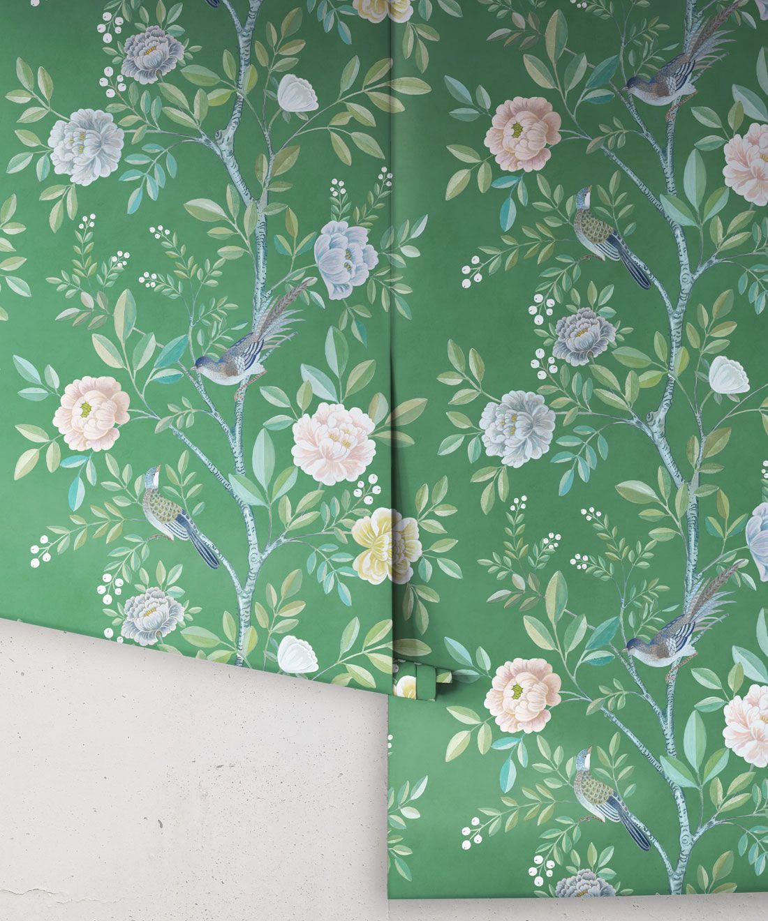Chinoiserie Wallpaper •Floral Wallpaper •Bird Wallpaper • Magnolia • Forest Green • Rolls