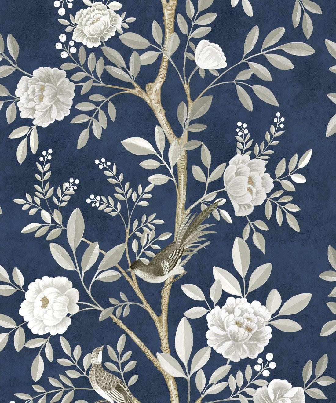 Chinoiserie Wallpaper •Floral Wallpaper •Bird Wallpaper • Magnolia • Royal Blue • Swatcj