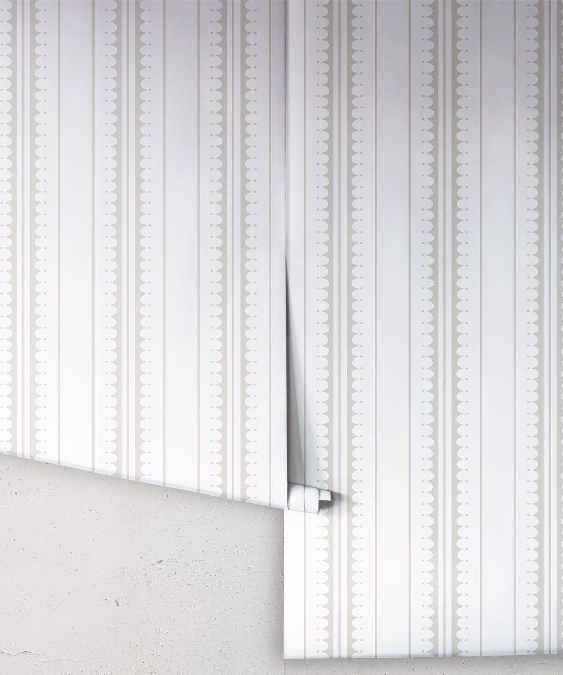 Coquille Wallpaper • Stripe and Scallop Wallpaper • Beige • Rolls
