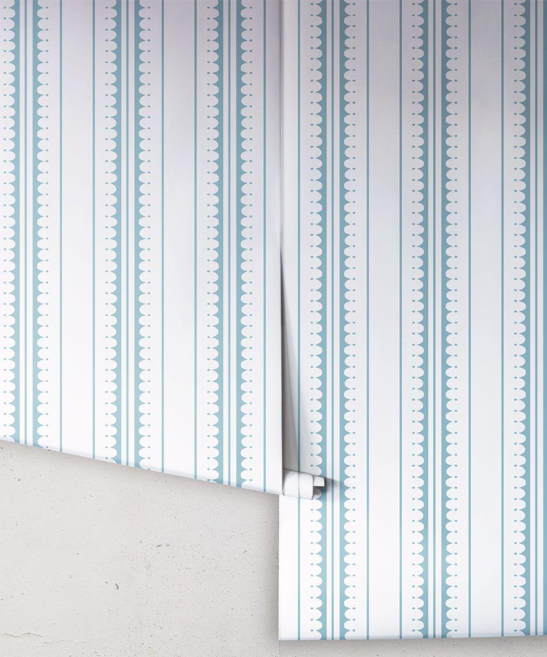 Coquille Wallpaper • Stripe and Scallop Wallpaper • Powder Blue • Rolls