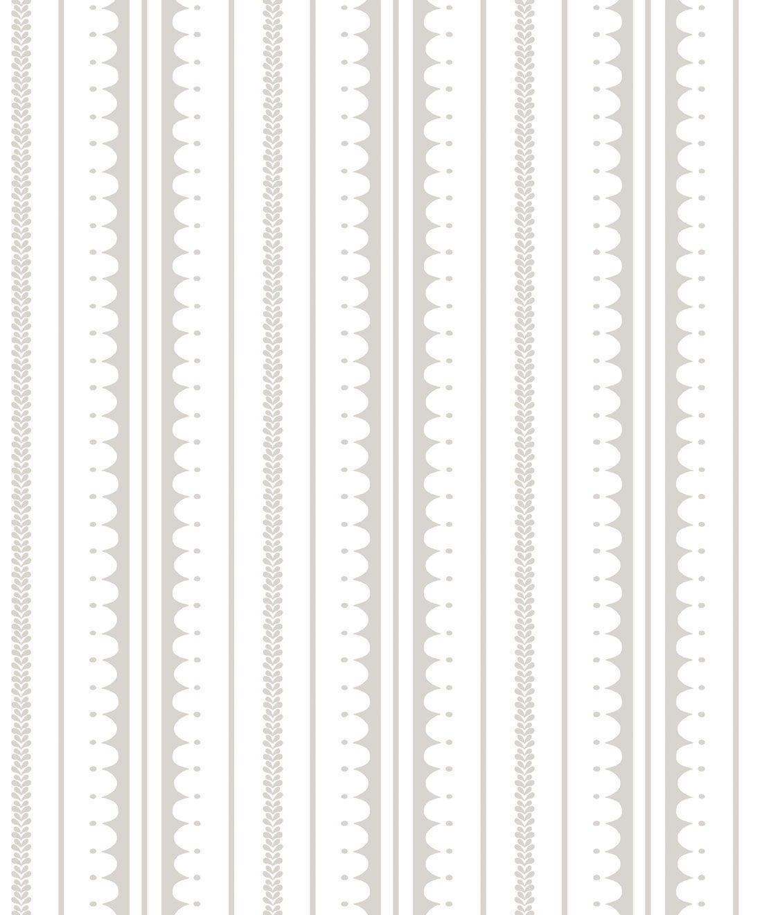 La Grand Coquille • Stripe and Scallop Wallpaper • Beige • Swatch
