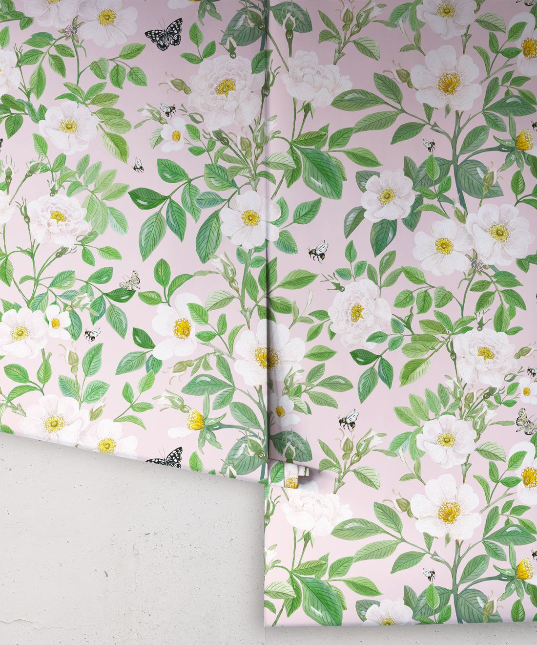 Rosa Wallpaper • Floral Wallpaper • Blush • Rolls