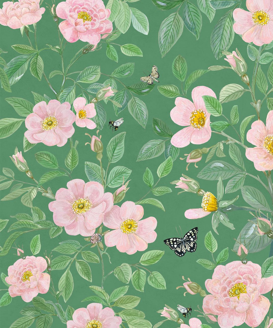Rosa Wallpaper • Floral Wallpaper •Forest Green • Swatch