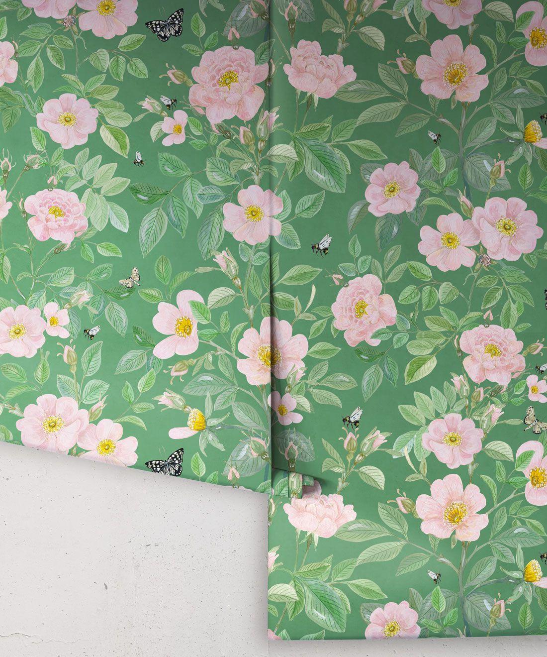 Rosa Wallpaper • Floral Wallpaper •Forest Green • Rolls