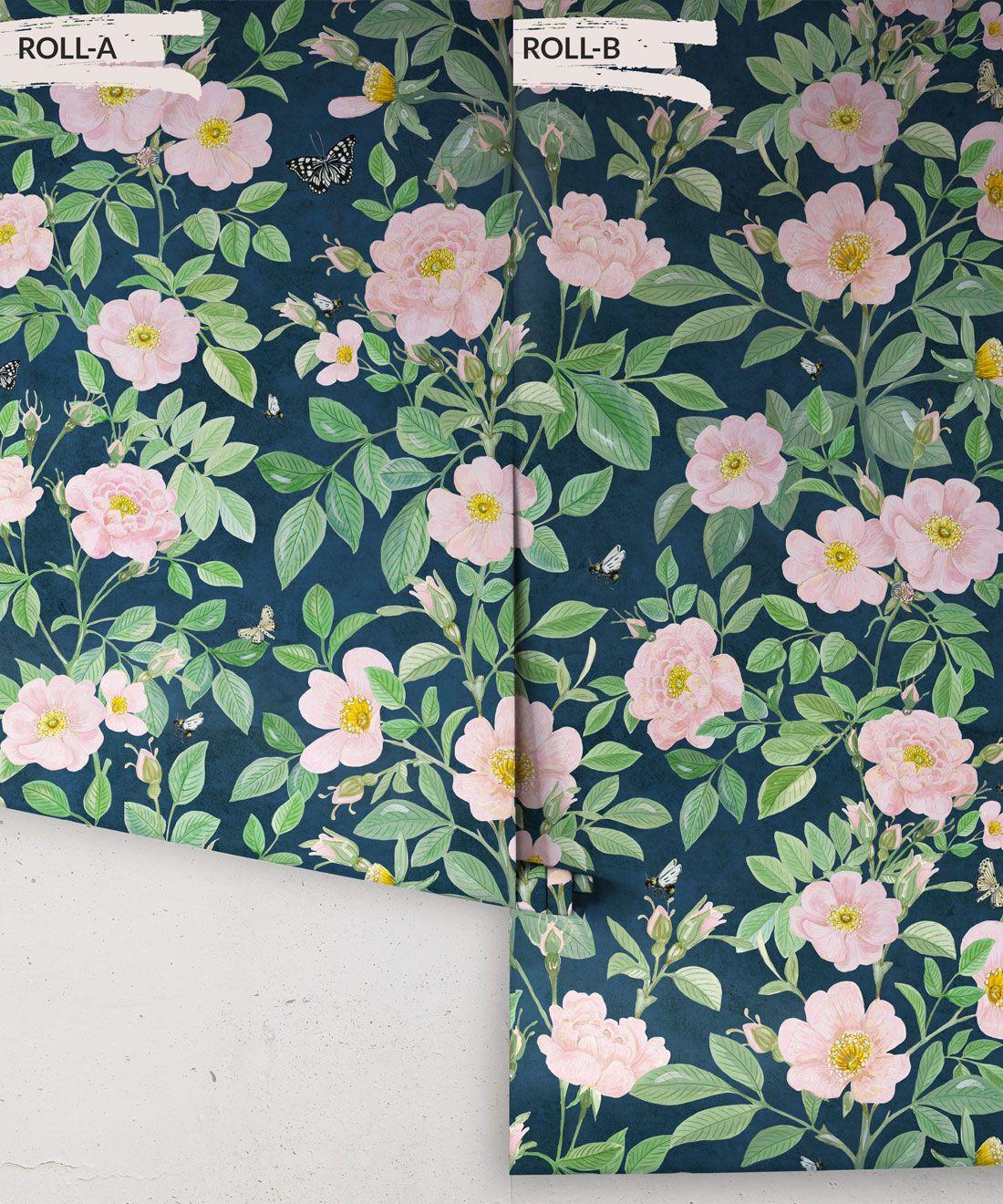 Rosa Wallpaper • Floral Wallpaper •Rose Pink • Rolls