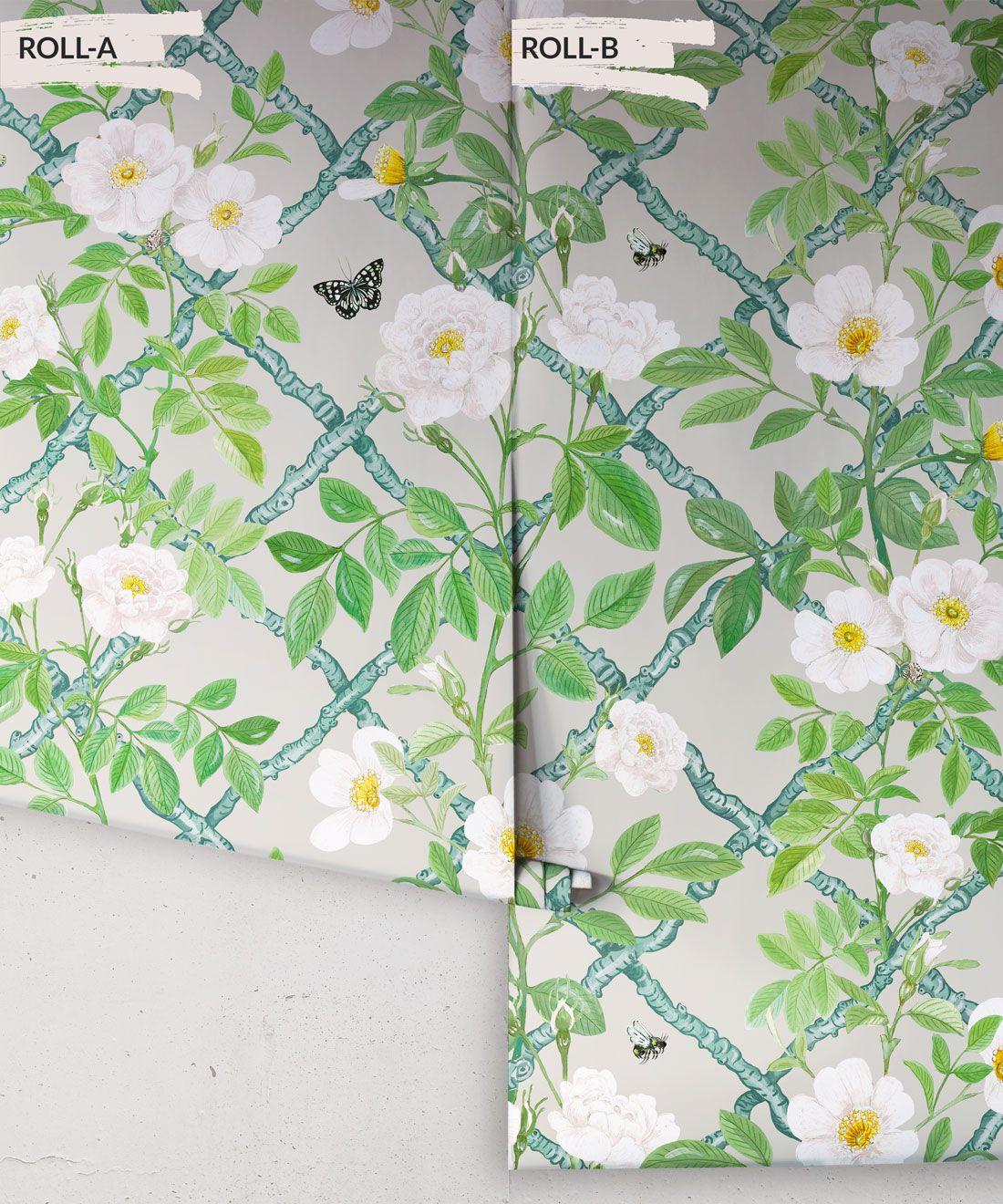 Treilage Wallpaper • Floral Wallpaper • Beige • Rolls