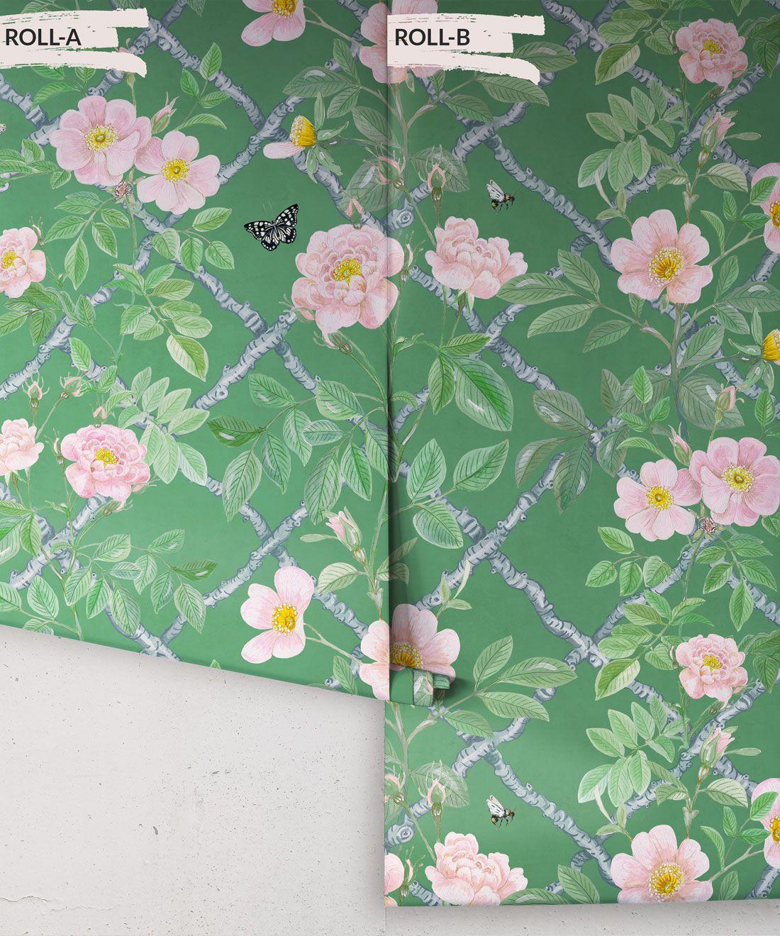 Treilage Wallpaper • Floral Wallpaper • Forest Green • Rolls