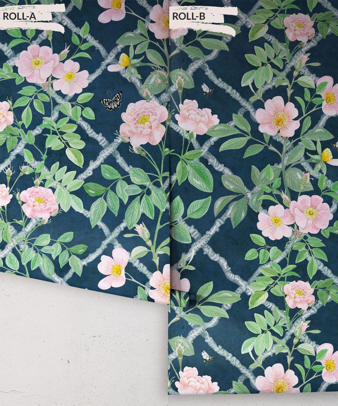 Treilage Wallpaper • Floral Wallpaper • Rose Pink • Rolls