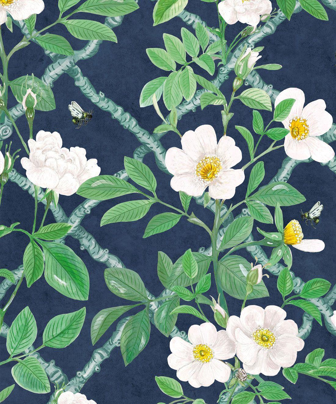 Treilage Wallpaper • Floral Wallpaper • Royal Blue • Swatch