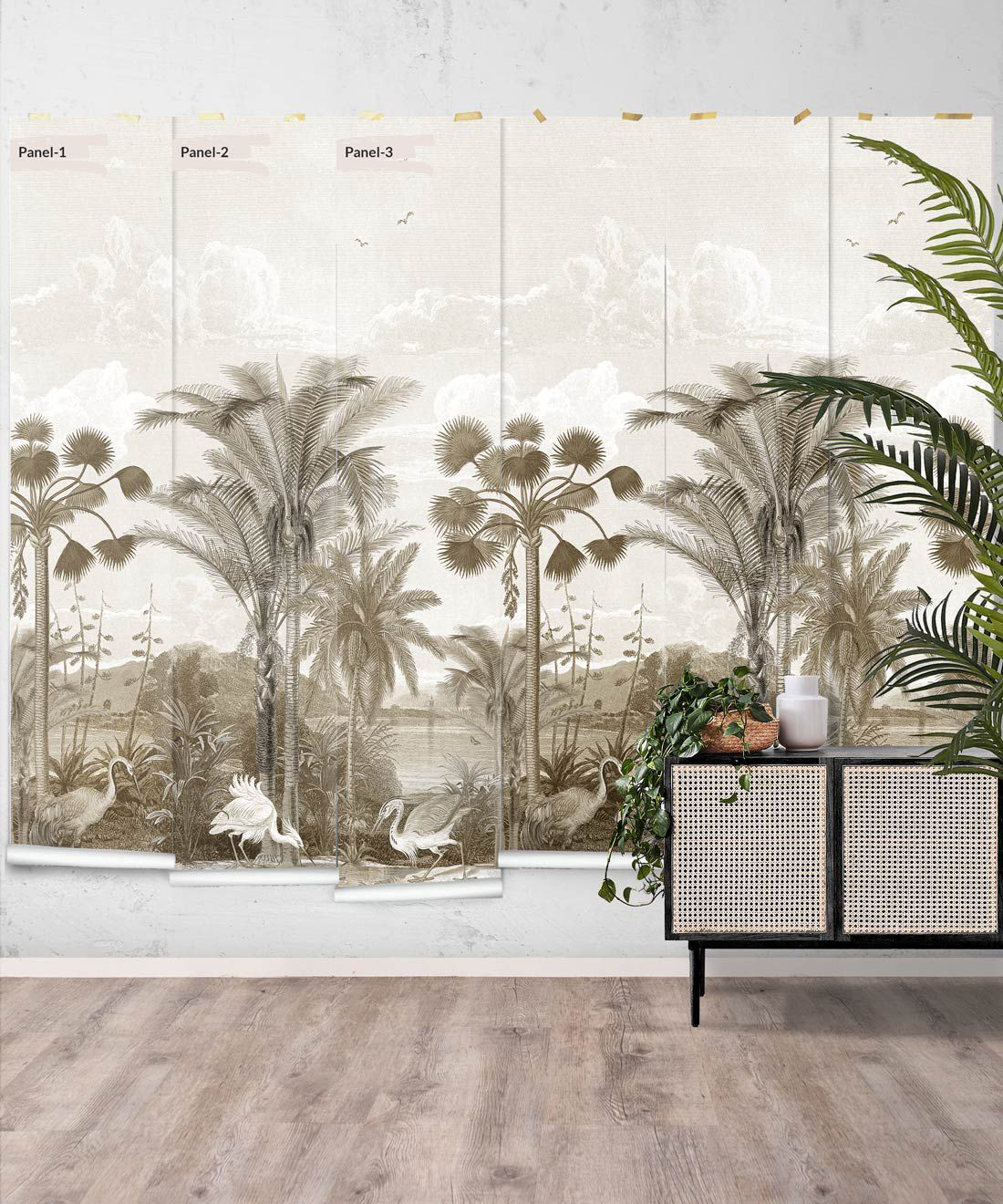 Indian Subcontinent Wallpaper Mural •Bethany Linz • Palm Tree Mural • Sepia • Panels