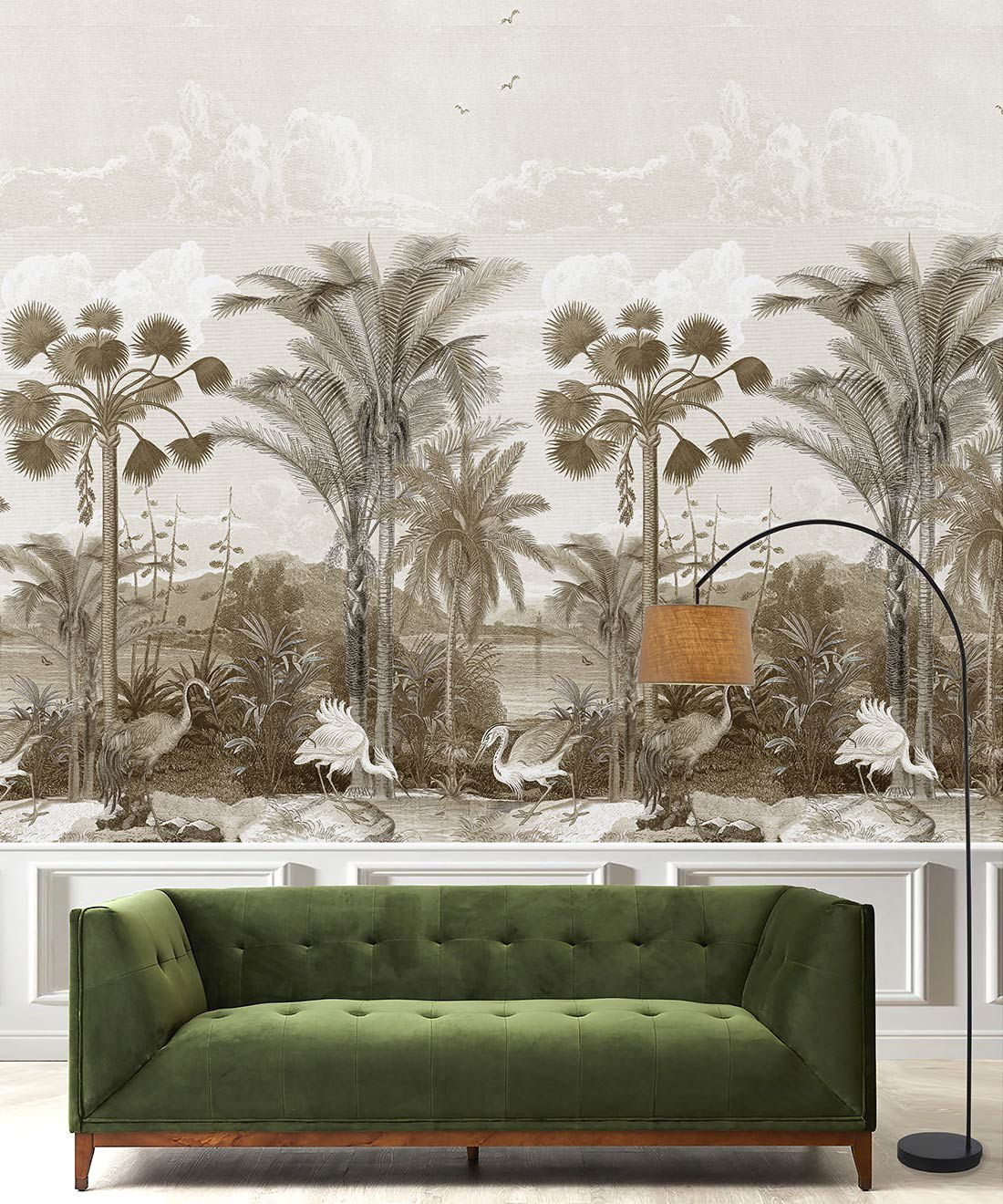 Indian Subcontinent Wallpaper Mural •Bethany Linz • Palm Tree Mural • Sepia • Insitu