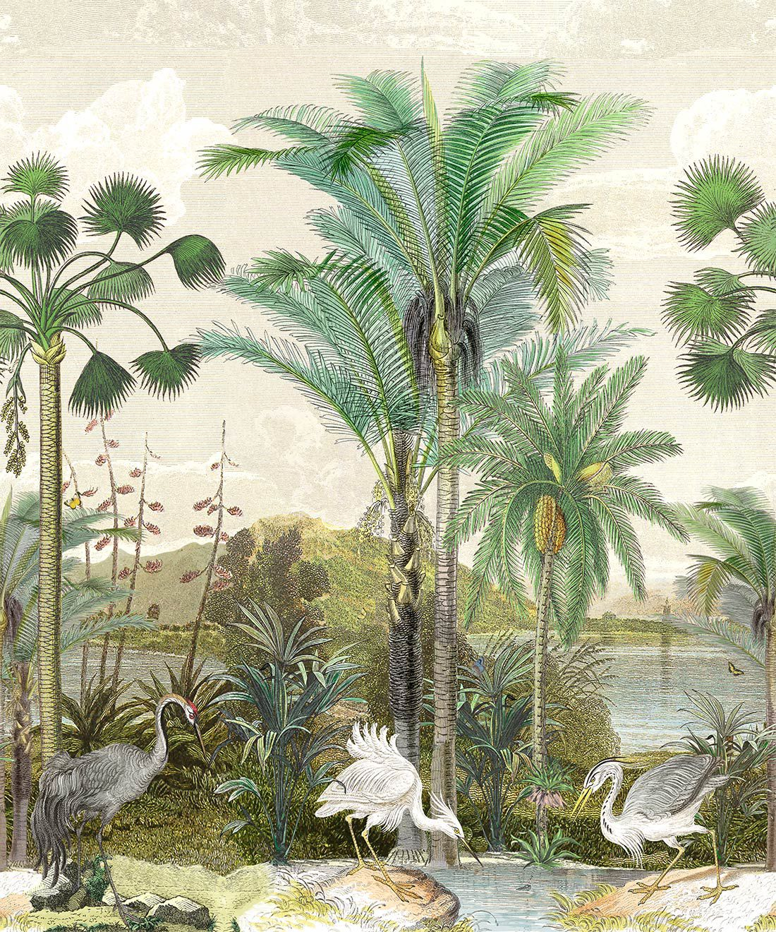 Indian Subcontinent Wallpaper Mural •Bethany Linz • Palm Tree Mural • Beige • Swatch