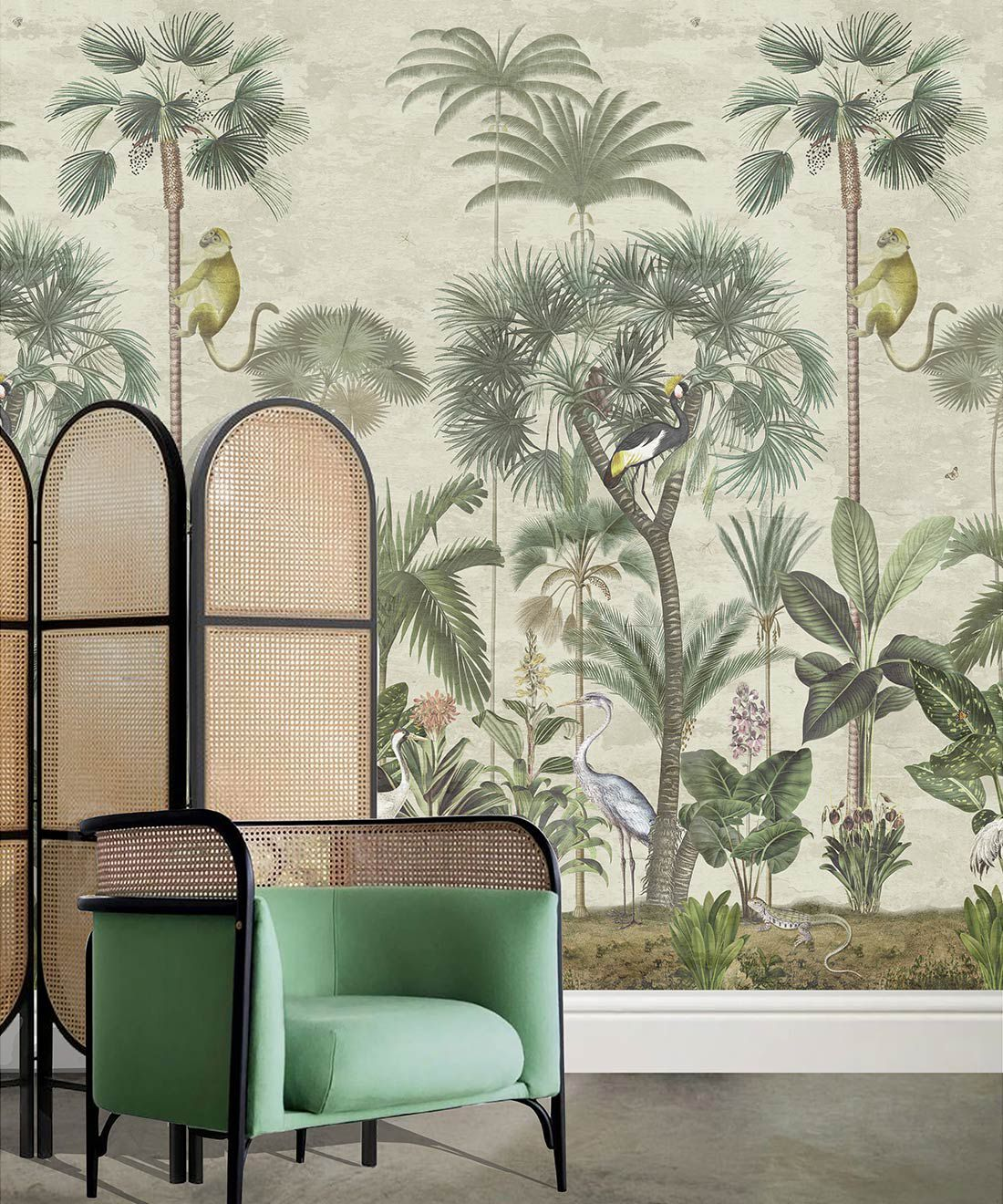 Indian Summer Wallpaper Mural •Bethany Linz • Palm Tree Mural • Aged • Insitu