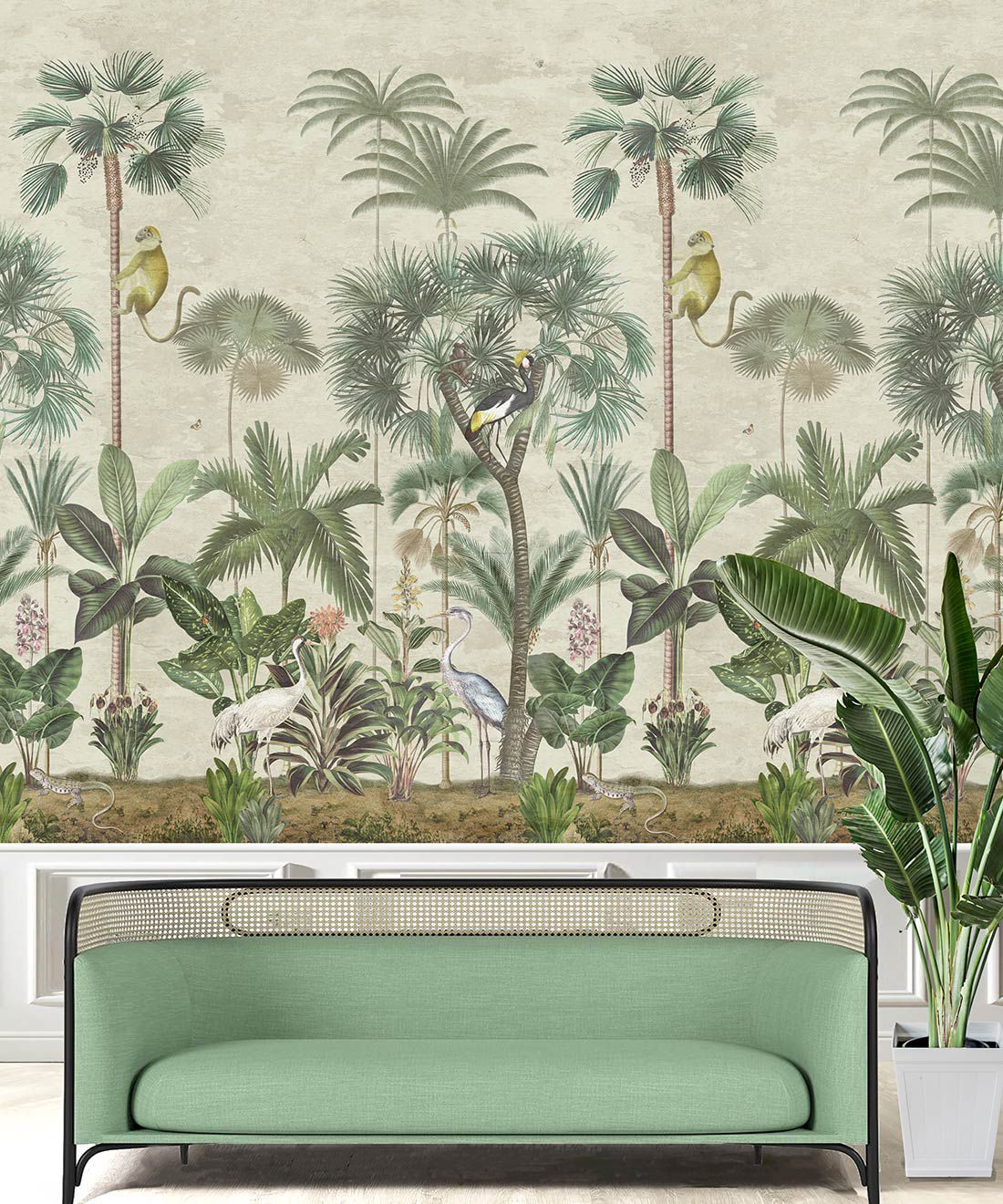 Indian Summer Wallpaper Mural •Bethany Linz • Palm Tree Mural • Aged • Insitu with mint Green sofa