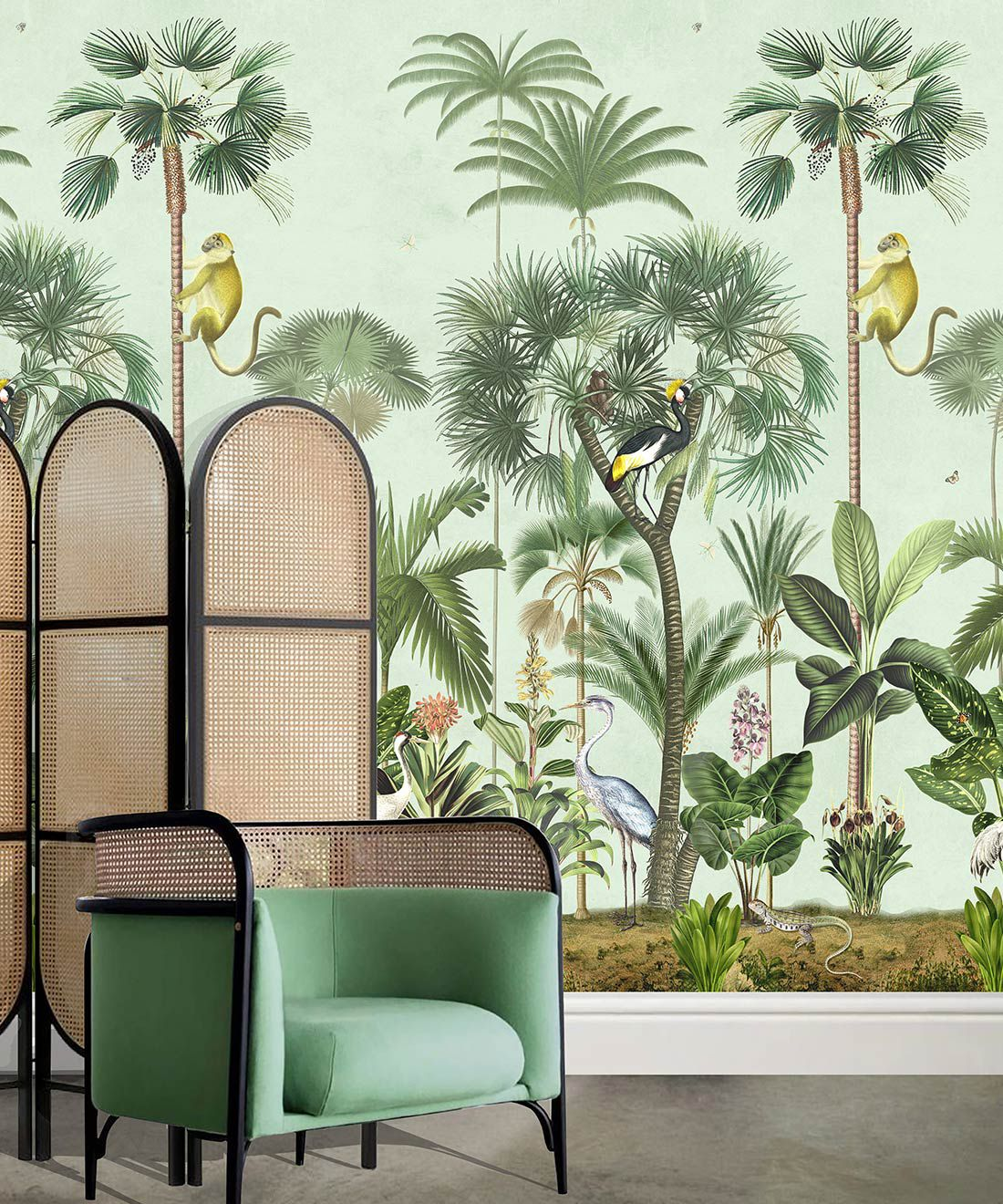 Indian Summer Wallpaper Mural •Bethany Linz • Palm Tree Mural • Blue • Insitu with chair