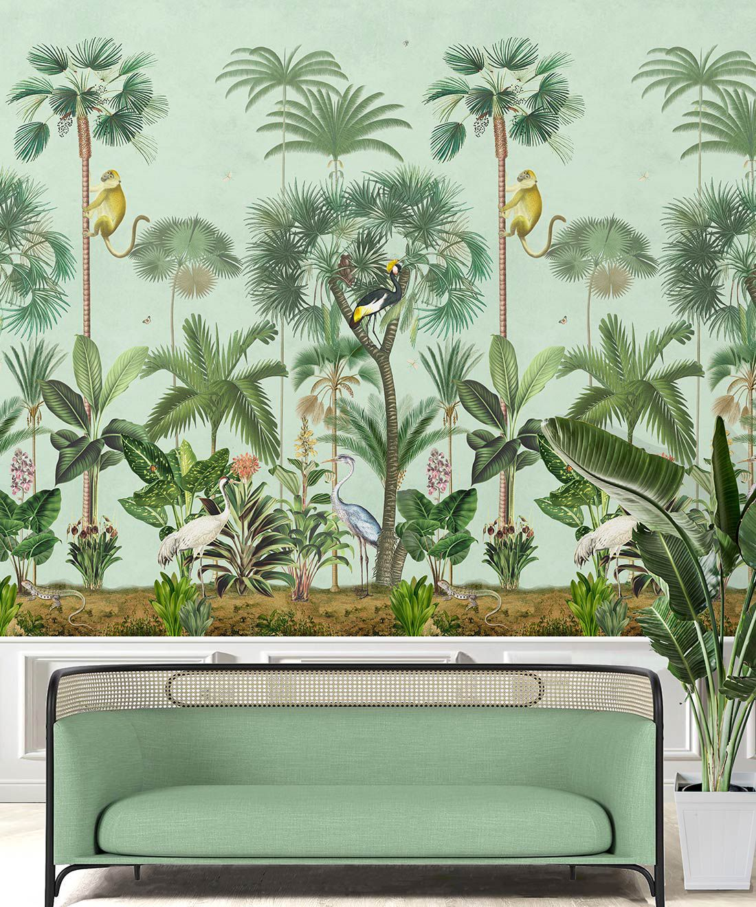 Indian Summer Wallpaper Mural •Bethany Linz • Palm Tree Mural • Blue • Inisitu with mint green sofa