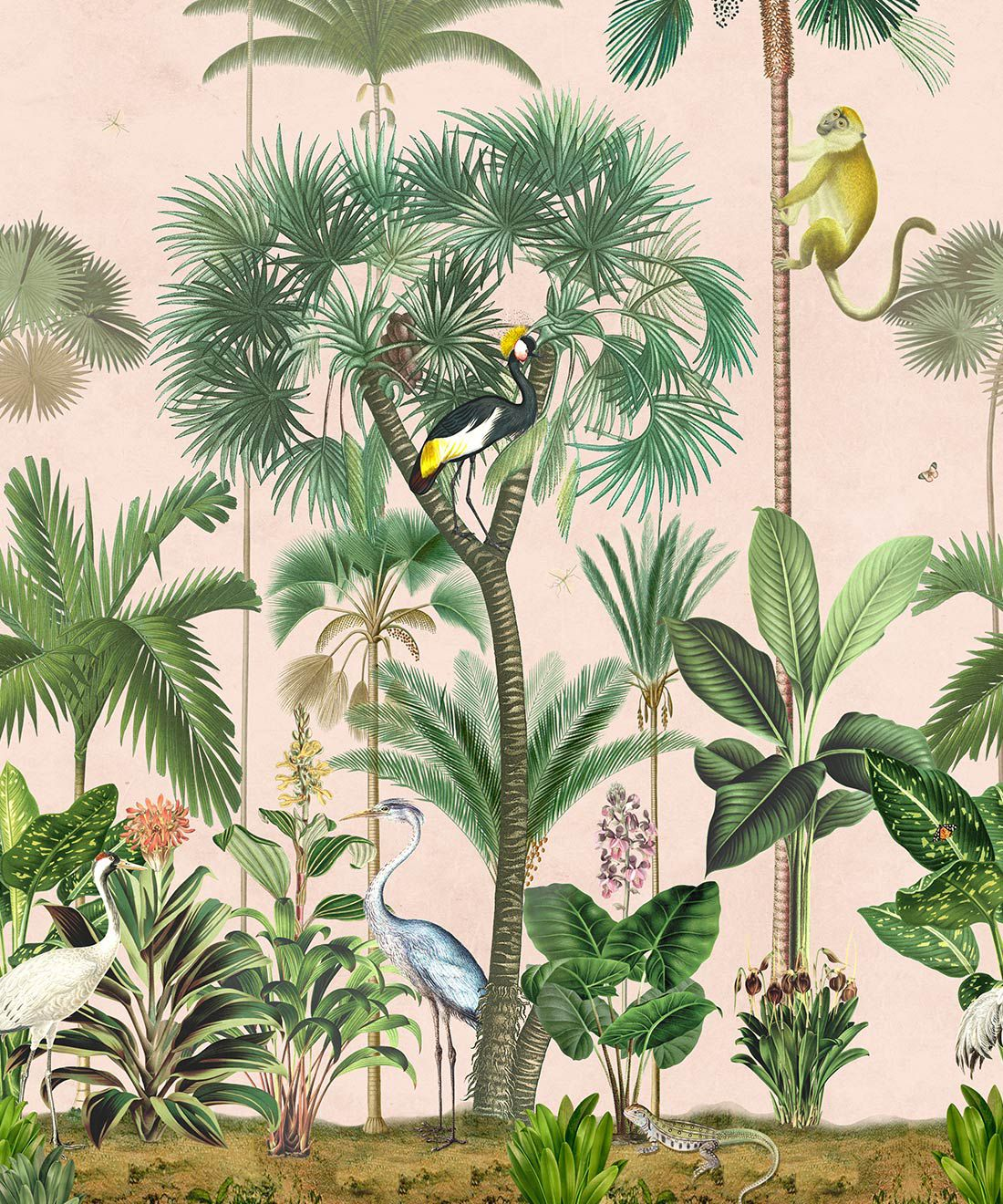 Indian Summer Wallpaper Mural •Bethany Linz • Palm Tree Mural • Pink • Swatch