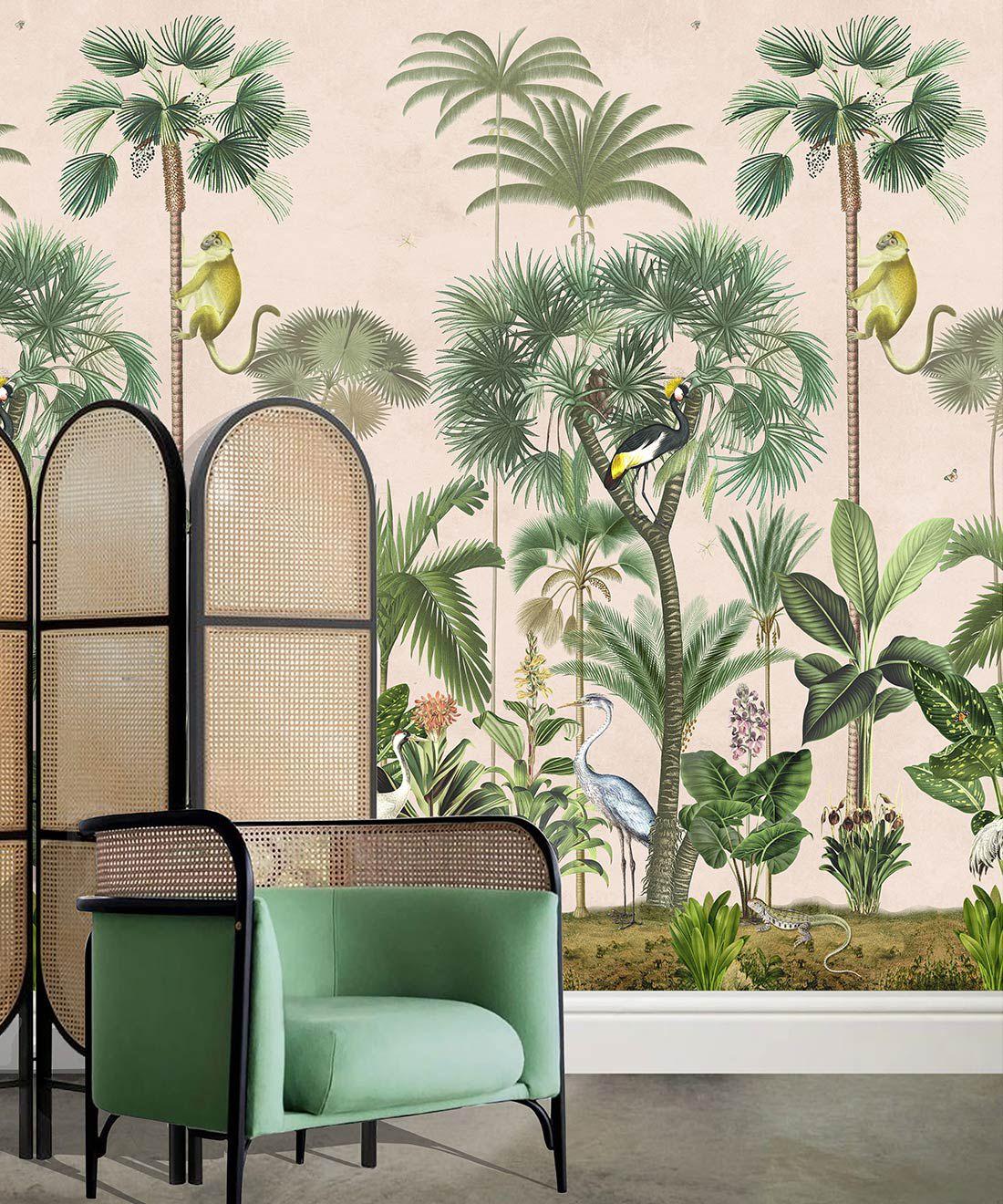 Indian Summer Wallpaper Mural •Bethany Linz • Palm Tree Mural • Pink • Insitu
