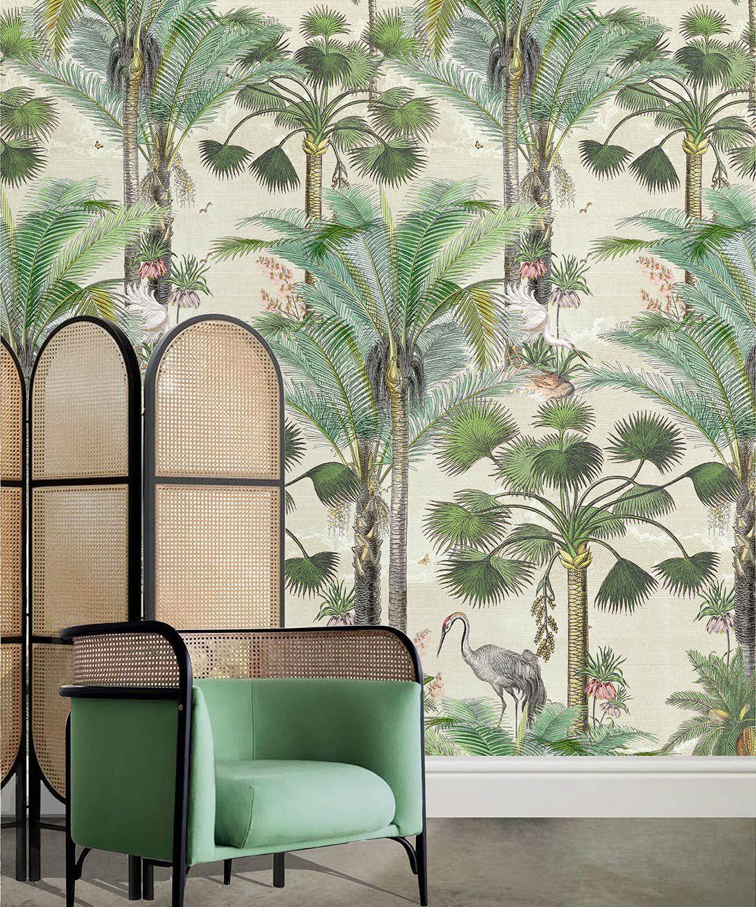Kerala Palms Wallpaper Mural •Bethany Linz • Palm Tree Mural • Beige • Insitu