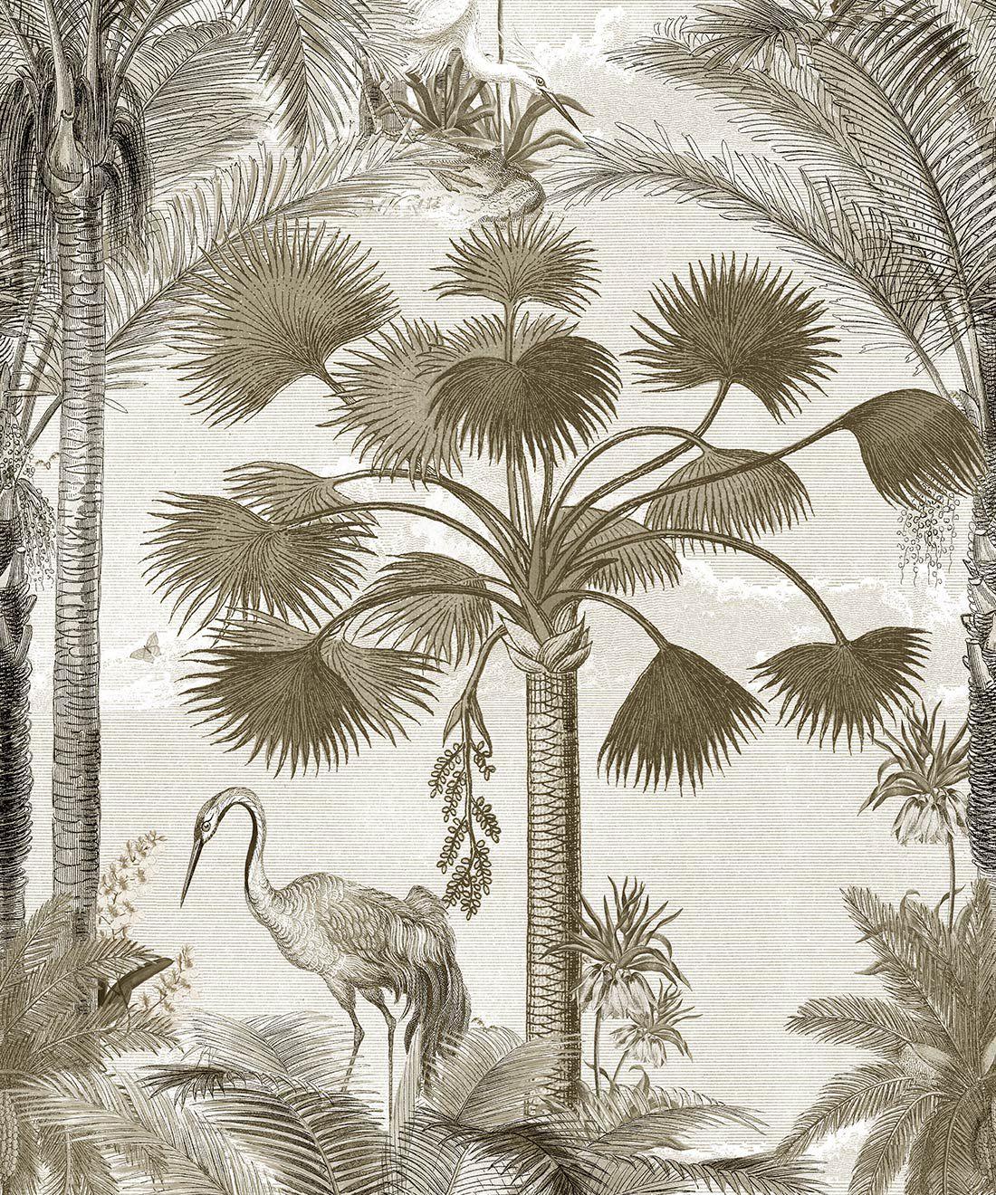 Kerala Palms Wallpaper Mural •Bethany Linz • Palm Tree Mural • Sepia • Swatch