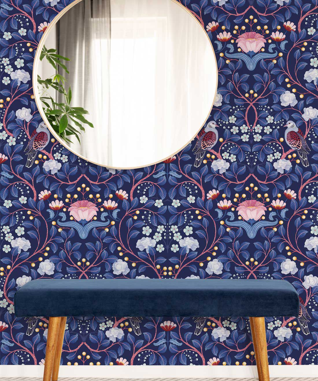 Turtle Doves Wallpaper • Bold Colorful Bird Wallpaper • Blueberry •Insitu