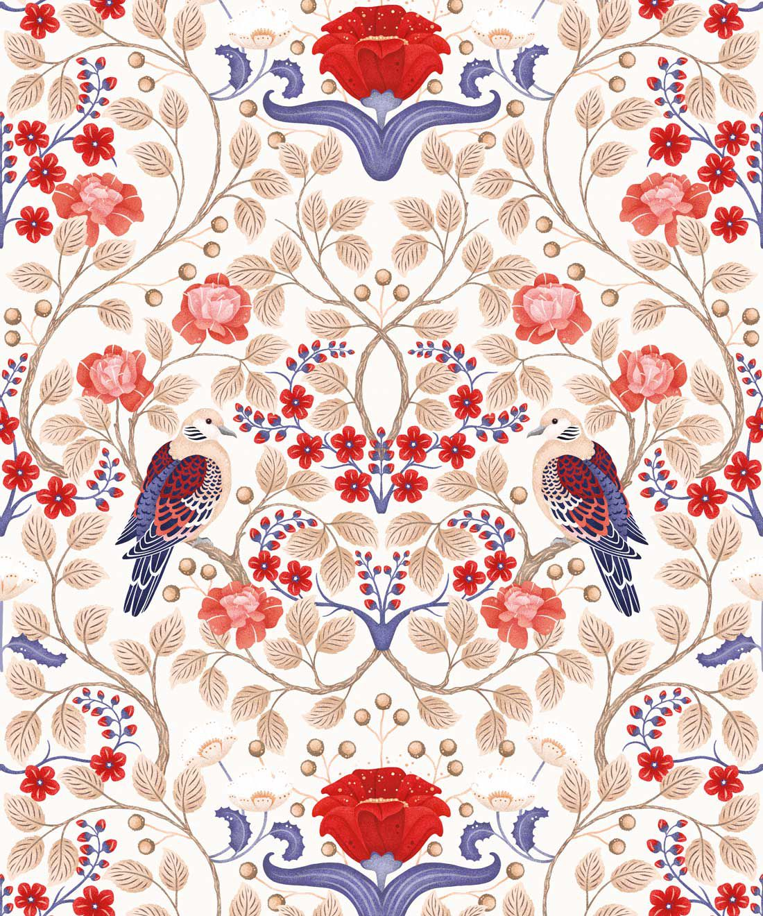 Turtle Doves Wallpaper • Bold Colorful Bird Wallpaper • Creme •Swatch