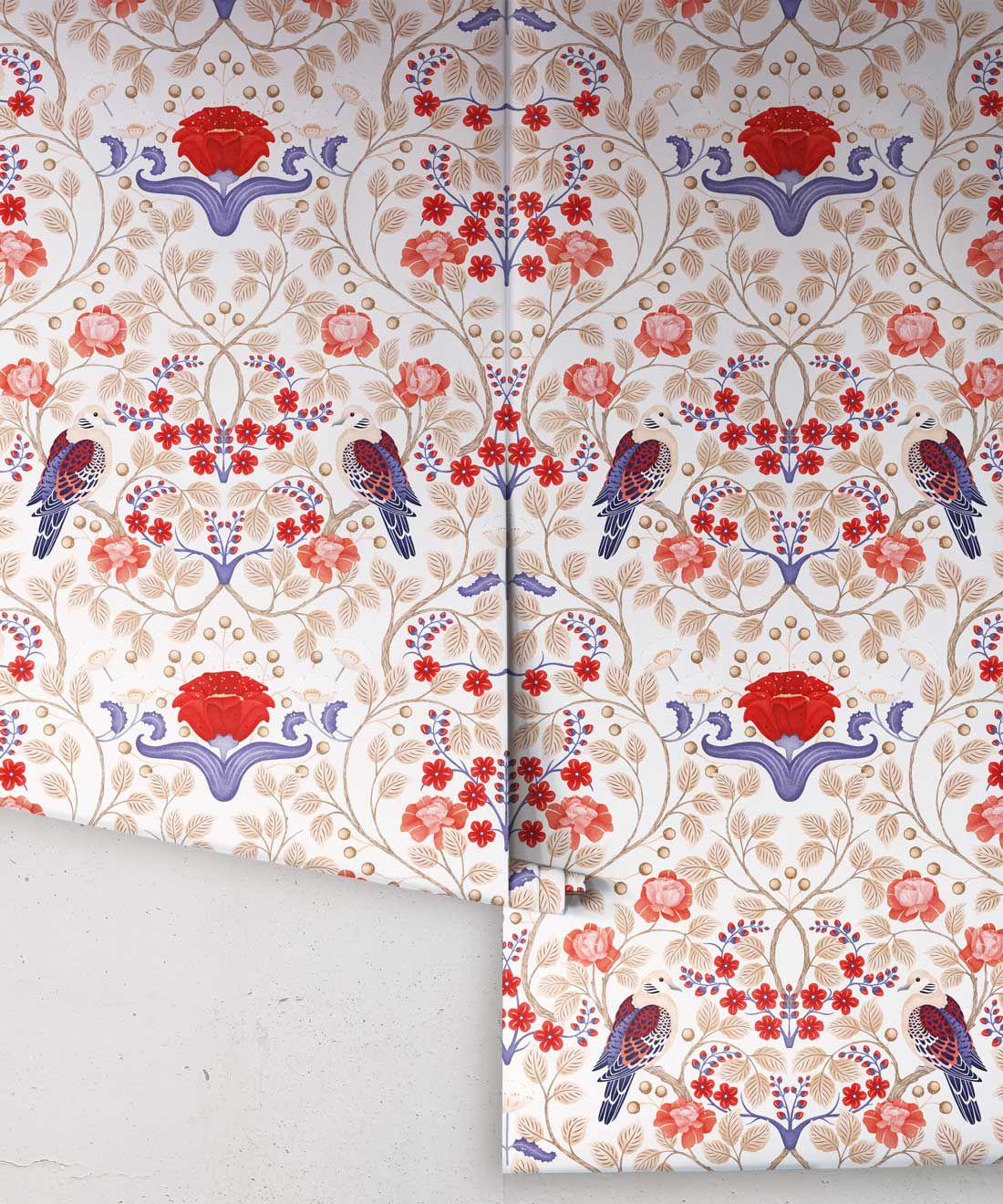 Turtle Doves Wallpaper • Bold Colorful Bird Wallpaper • Creme •Rolls
