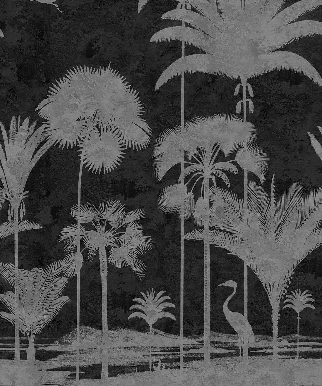 Shadow Palms Wallpaper Mural •Bethany Linz • Palm Tree Mural • Black & White • Swatch