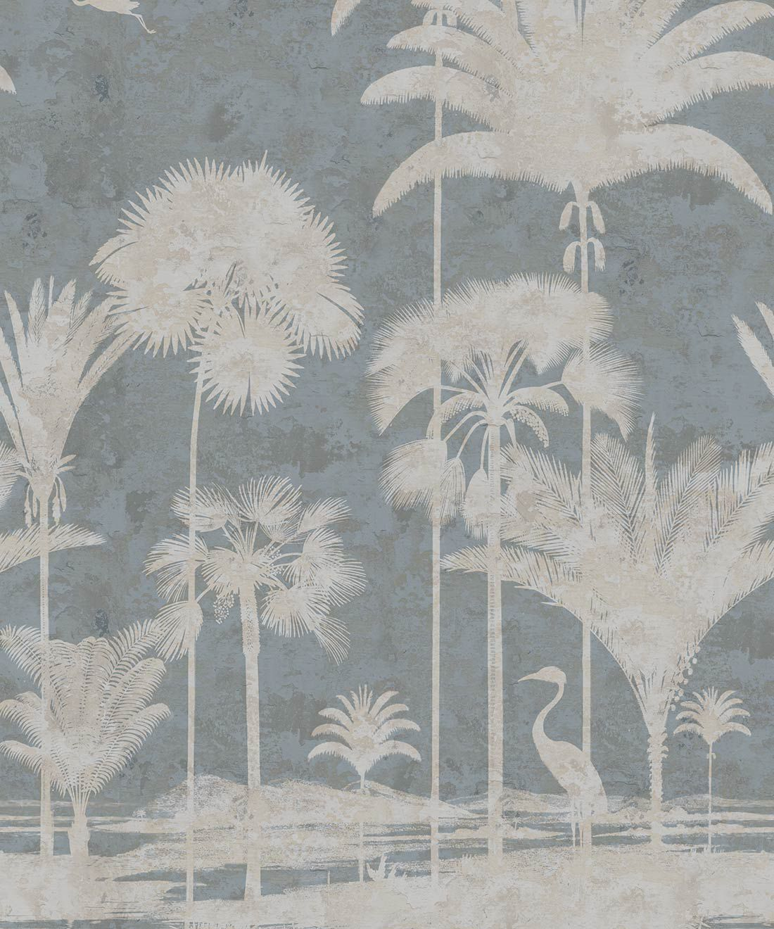 Shadow Palms Wallpaper Mural •Bethany Linz • Palm Tree Mural • Blue • Swatch