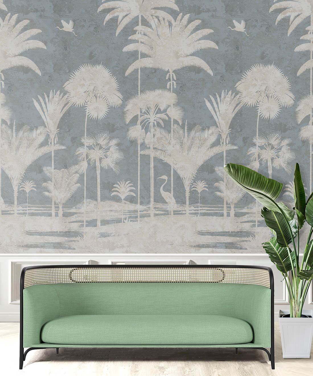 Shadow Palms Wallpaper Mural •Bethany Linz • Palm Tree Mural • Blue • Insitu with mint green sofa