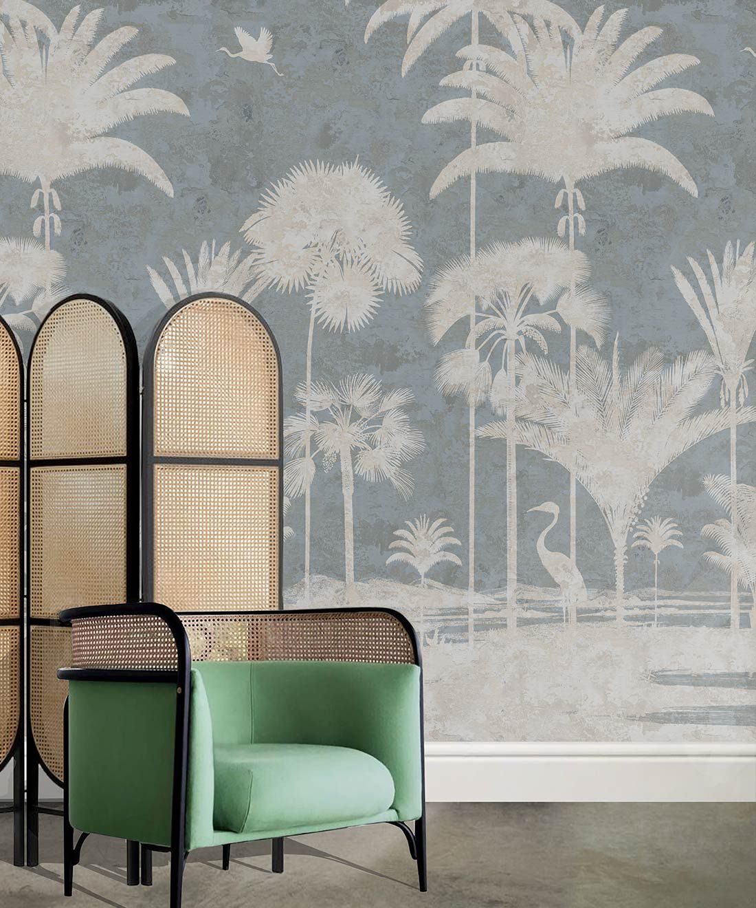 Shadow Palms Wallpaper Mural •Bethany Linz • Palm Tree Mural • Blue • Insitu with mint green chair
